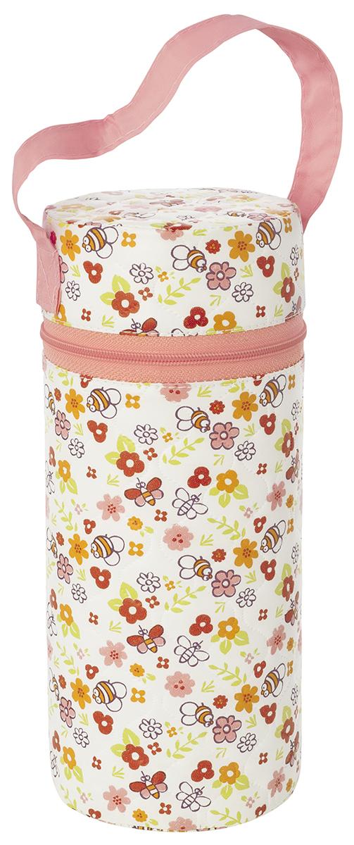 Контейнер для бутылочки Мир детства Пчелки, трехслойный, цвет: белый, розовый