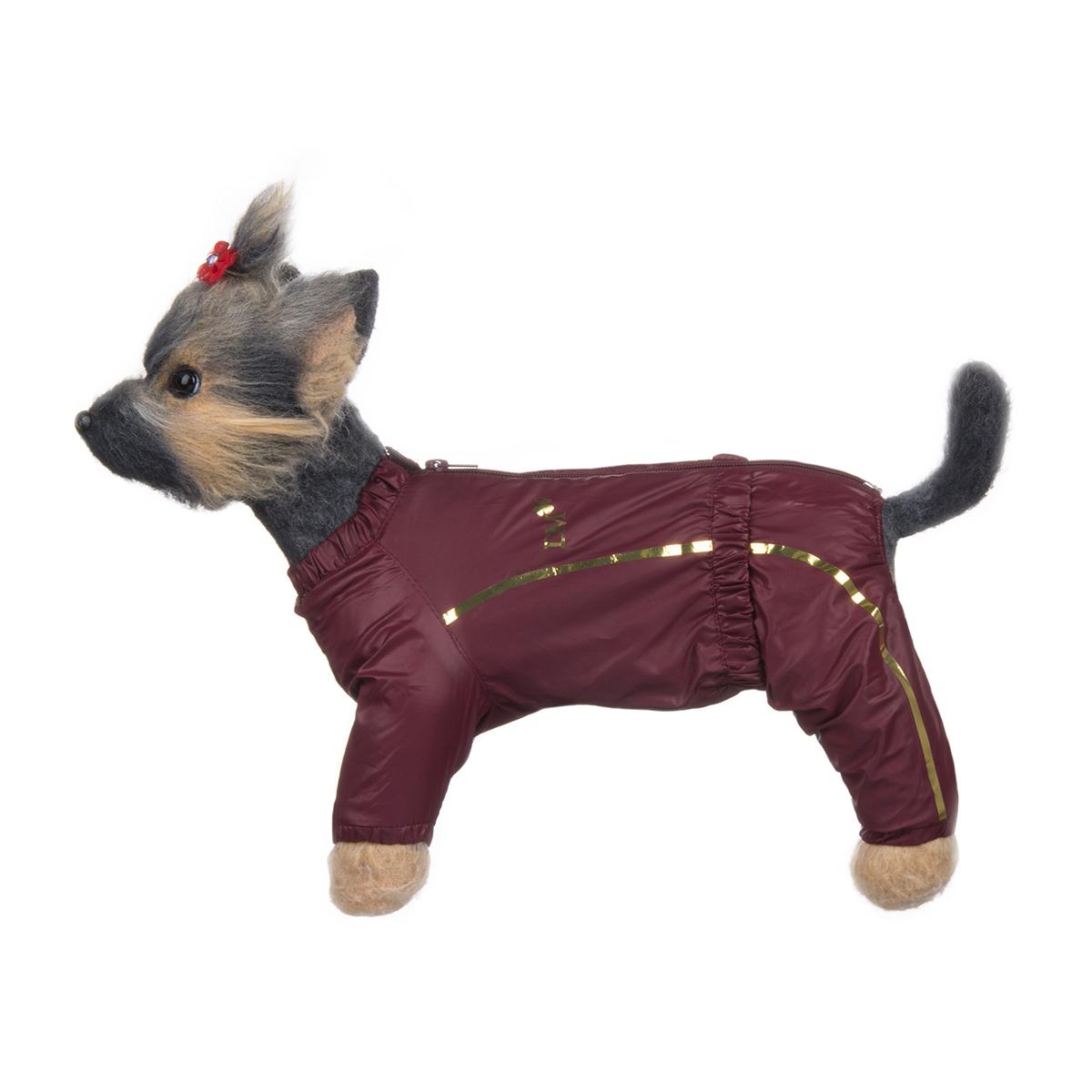 Комбинезон для собак Dogmoda Альпы, для девочки, цвет: бордовый. Размер 1 (S)DM-150325-1Комбинезон для собак Dogmoda Альпы отлично подойдет для прогулок поздней осенью или ранней весной. Комбинезон изготовлен из полиэстера, защищающего от ветра и осадков, с подкладкой из флиса, которая сохранит тепло и обеспечит отличный воздухообмен. Комбинезон застегивается на молнию и липучку, благодаря чему его легко надевать и снимать. Ворот, низ рукавов и брючин оснащены внутренними резинками, которые мягко обхватывают шею и лапки, не позволяя просачиваться холодному воздуху. На пояснице имеется внутренняя резинка. Изделие декорировано золотистыми полосками и надписью DM. Благодаря такому комбинезону простуда не грозит вашему питомцу и он не даст любимцу продрогнуть на прогулке.