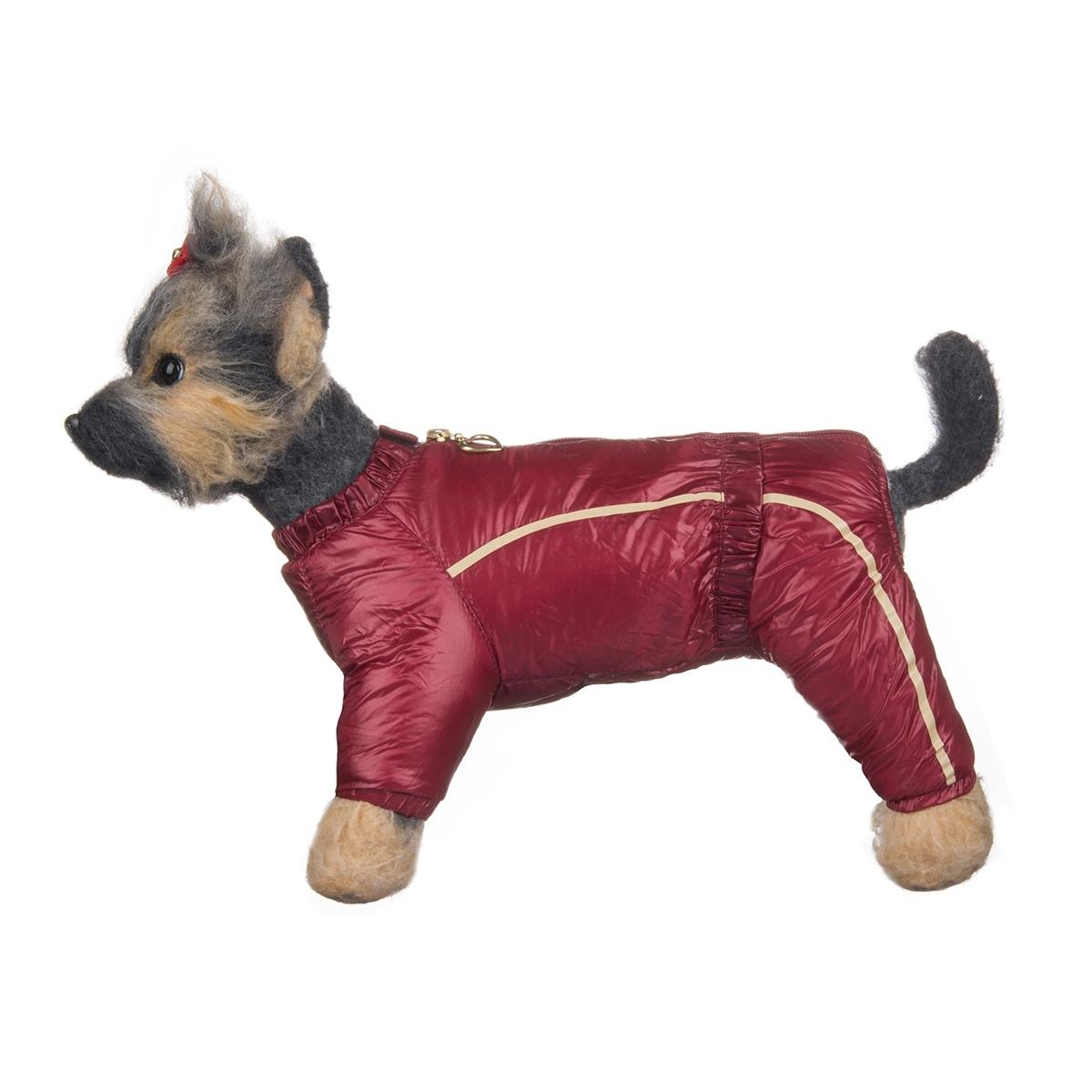 Комбинезон для собак Dogmoda Альпы, зимний, для девочки, цвет: бордовый, серый. Размер 3 (L)DM-150349-3Зимний комбинезон для собак Dogmoda Альпы отлично подойдет для прогулок в зимнее время года. Комбинезон изготовлен из полиэстера, защищающего от ветра и снега, с утеплителем из синтепона, который сохранит тепло даже в сильные морозы, а на подкладке используется искусственный мех, который обеспечивает отличный воздухообмен. Комбинезон застегивается на молнию и липучку, благодаря чему его легко надевать и снимать. Ворот, низ рукавов и брючин оснащены внутренними резинками, которые мягко обхватывают шею и лапки, не позволяя просачиваться холодному воздуху. На пояснице имеется внутренняя резинка. Изделие декорировано бежевыми полосками и надписью DM. Благодаря такому комбинезону простуда не грозит вашему питомцу и он сможет испытать не сравнимое удовольствие от снежных игр и забав.