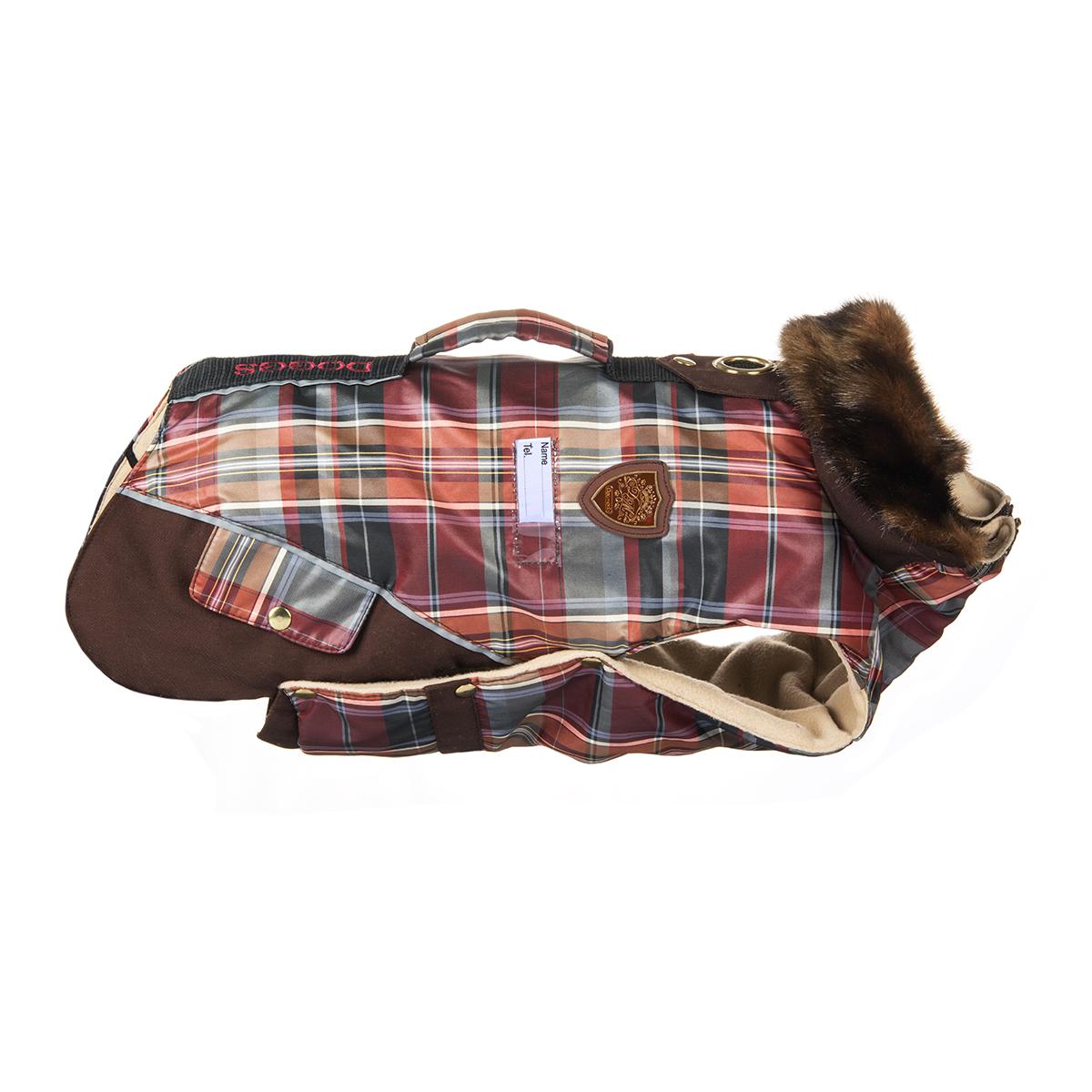 Попона для собак Dogmoda Doggs, для девочки, цвет: бордовый, коричневый. Размер XLDM-140551Теплая попона для собак Dogmoda Doggs отлично подойдет для прогулок в холодное время года. Попона изготовлена из водоотталкивающего полиэстера, защищающего от ветра и осадков, с утеплителем из синтепона, который сохранит тепло даже в сильные морозы, а на подкладке используется флис, который отлично сохраняет тепло и обеспечивает воздухообмен. Попона оснащена прорезями для ног и застегивается на кнопки, а высокий ворот с расширителем имеет застежку-молнию и кнопку, благодаря чему ее легко надевать и снимать. Ворот украшен искусственным мехом. На животе попона затягивается на шнурок-кулиску с зажимом. Спинка декорирована вышитой надписью Doggs, оснащена светоотражающими элементами и ручкой. Модель снабжена непромокаемым карманом для размещения записки с информацией о вашем питомце, на случай если он потеряется. Благодаря такой попоне питомцу будет тепло и комфортно в любое время года. Попона подходит для собак следующих пород: -...