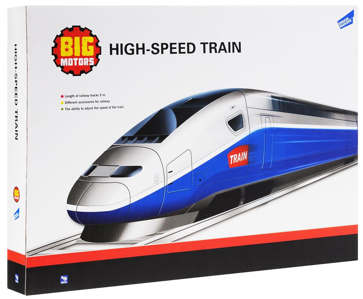 Big Motors Железная дорога Скоростной поезд5577-8Игровой набор Железная дорога Скоростной поезд привлечет внимание ребенка и не позволит ему скучать. В комплекте: 2 локомотива, 2 вагона, пульт управления, детали для сборки железной дороги, аксессуары. Железная дорога с возможностью регулирования скорости движения поездом. Работает по принципу трека. Железная дорога - это игрушка для настоящих мальчишек. Игрушечные железные дороги не только развлечение для детей - в них с удовольствием будут играть и взрослые. Они являются своего рода не просто игрушкой, а заветной мечтой, которая легко может перерасти в хобби. Такие игры могут храниться годами и передаваться из поколения в поколение, преодолевая модные тенденции и терпя причуды времени. Набор позволит ребенку не только получать удовольствие от игры, но и развивать пространственное воображение, мелкую моторику рук и координацию движений. Порадуйте его таким замечательным подарком! Рекомендуется докупить 4 батареи мощностью 1,5V типа АА (не входят в...