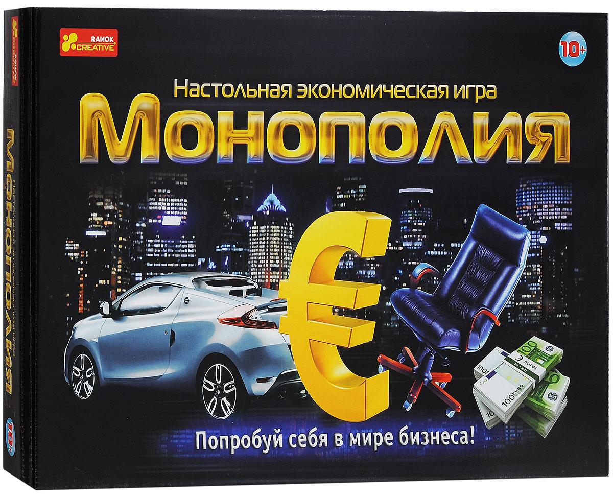 Ranok Настольная игра Монополия Евро978-966-679-036-4Монополия - одна из самых увлекательных настольных игр, которая обучает торговле недвижимостью. Изобретенная в Америке во времена великой депрессии, эта игра позволит вам распоряжаться большими деньгами и быстро разбогатеть. Цель игры - выиграть, оставшись единственным не обанкротившимся игроком. В ходе игры вы можете перемещаться по игровому полю и посещать самые интересные места земного шара. Также игроки платят за штампы мест, в которых остановились и помещают их в паспорт. С других игроков необходимо брать гостевую плату за остановку в месте, штамп от которого находится у вас. Выигрывает игрок, который первым заполнит паспорт штампами. Последний не обанкротившийся участник игры считается победителем. В комплект игры входит: игровое поле, игровые карточки, карточки менеджера, 2 игровых кубика, 6 фишек, евро банкноты и правила игры на русском языке.