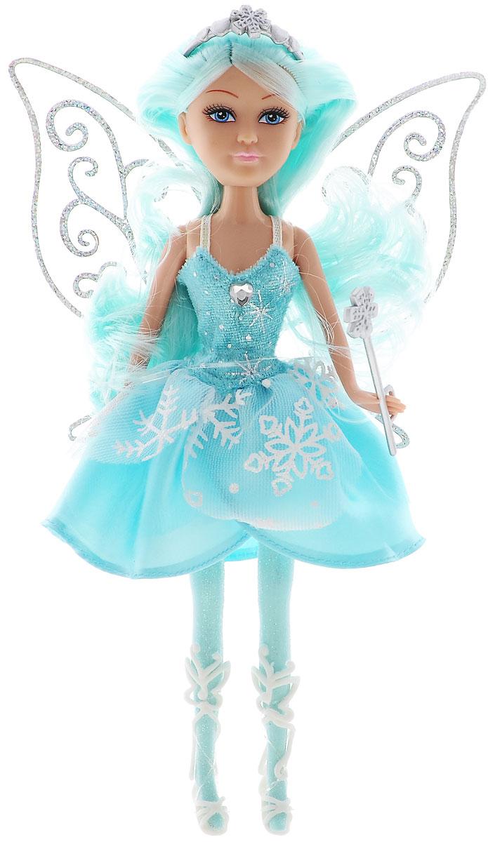 ABtoys Кукла Зимняя фея Сноусторм240249_бирюзовыйВеликолепный игровой набор с куклой-феей обязательно порадует вашу малышку и доставит ей много удовольствия от часов, посвященных игре с ней. Куколка с длинными голубыми волосами и синими глазами одета в великолепный наряд: яркое платье с подолом из нескольких полупрозрачных юбок с белыми снежинками. На ножках у феи высокие белые босоножки. Наряд дополняют ажурные блестящие крылышки. Вместе с куклой в наборе предлагается оригинальная диадема со снежинкой и сердечками. У феи также имеется волшебная палочка, которую она может взять в руку и аксессуары для магии: волшебный цветок и флакон с чудесным порошком. Куколка-фея станет настоящей подружкой для своей юной обладательницы! Порадуйте свою малышку таким великолепным подарком!