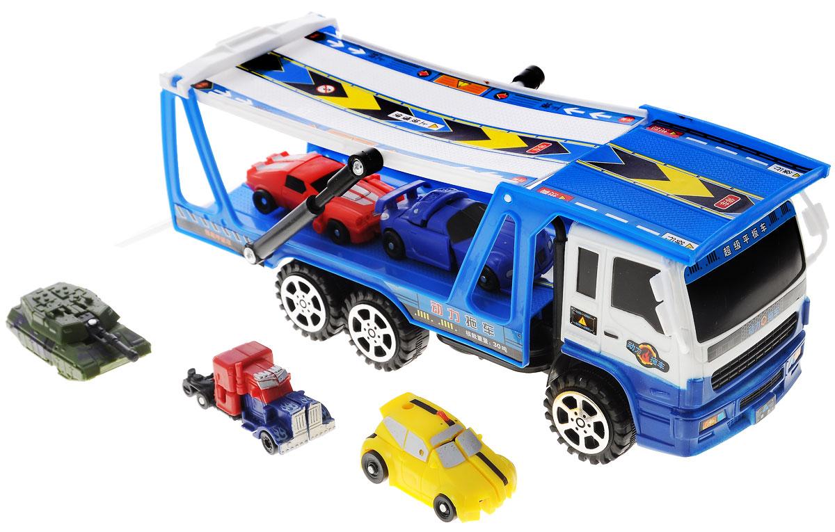 Junfa Toys Игровой набор Автовоз и 5 машинок-трансформеровHX8000B_синийИгровой набор Автовоз непременно станет любимой игрушкой вашего малыша. В набор входит грузовой автовоз с прицепом и пять машинок-трансформеров разных моделей и цветов. Маленькие машинки легко трансформируются в оригинальных роботов. У автовоза поднимается и наклоняется прицеп, чтобы машинкам было удобнее въезжать на него. Игрушки изготовлены из металла и высококачественного пластика. Ваш ребенок будет часами играть с этим набором, придумывая различные истории. Порадуйте его таким замечательным подарком!