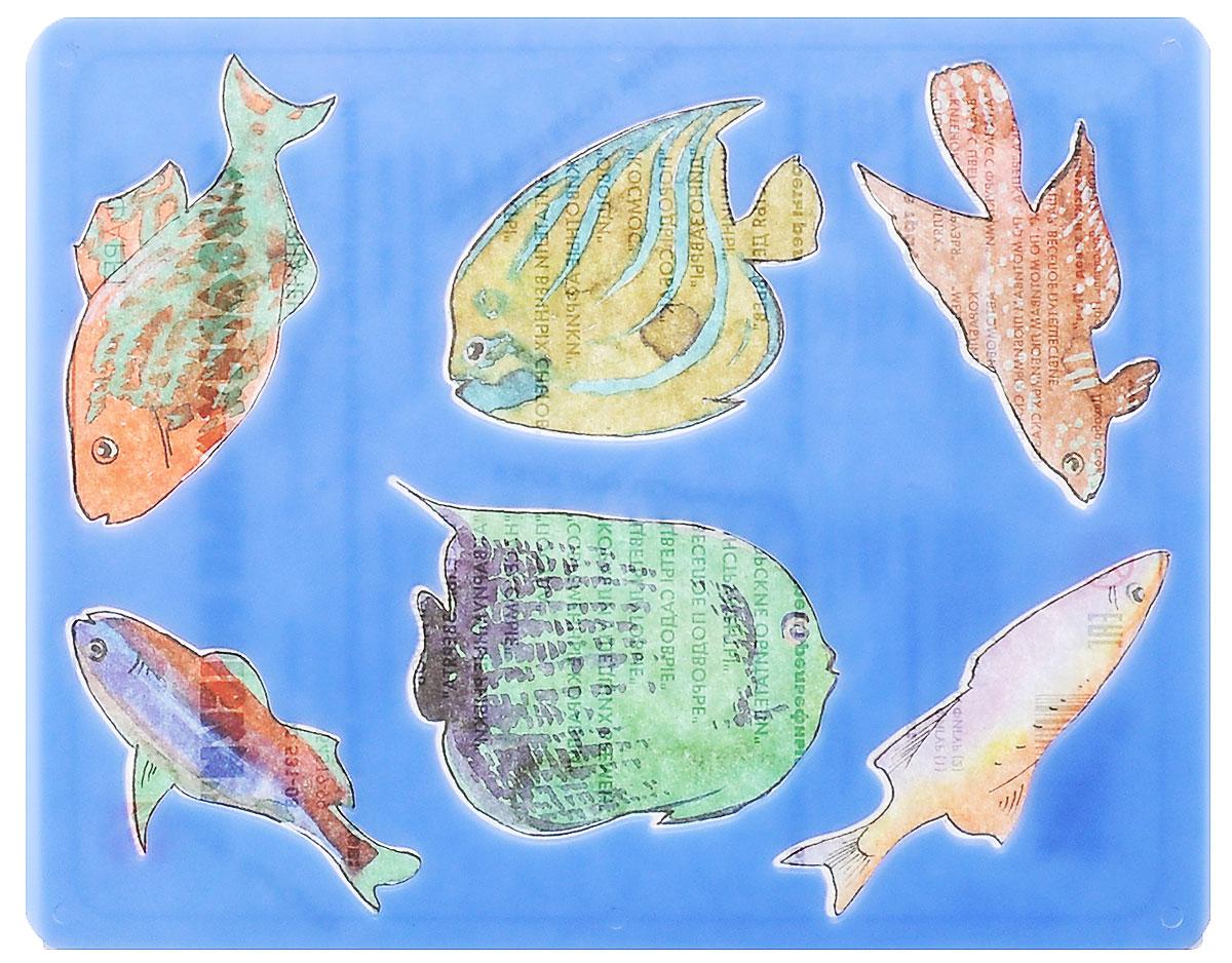 Луч Трафарет прорезной Аквариумные рыбки цвет синий