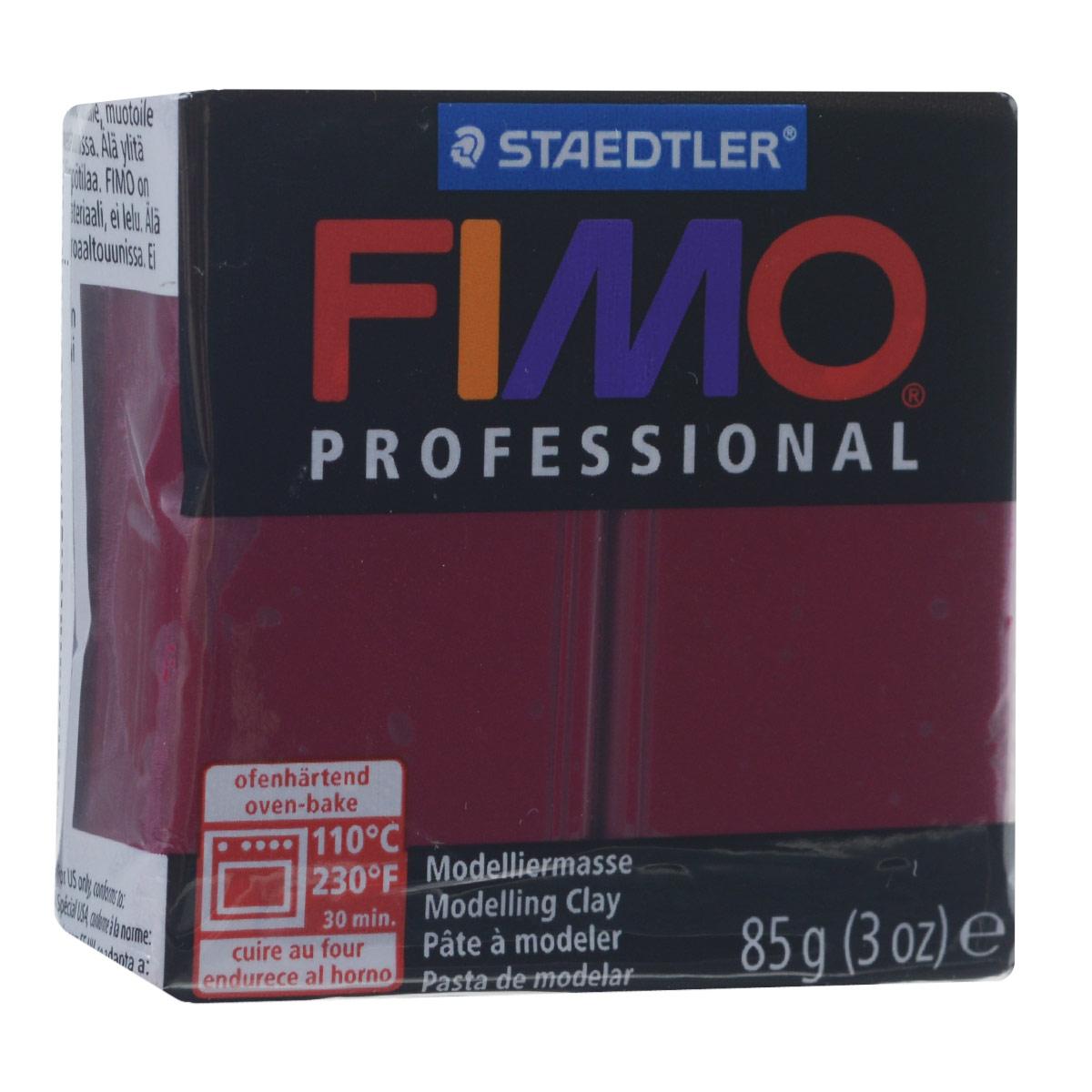 Полимерная глина Fimo Professional, цвет: бордо, 85 г8004-23Мягкая глина на полимерной основе (пластика) Fimo Professional идеально подходит для лепки небольших изделий (украшений, скульптурок, кукол) и для моделирования. Глина обладает отличными пластичными свойствами, хорошо размягчается и лепится, легко смешивается между собой, благодаря чему можно создать огромное количество поделок любых цветов и оттенков, не имеет запаха. Блок разделен на 2 сегмента, что позволяет легче разделять глину на порции. В домашних условиях готовая поделка выпекается в духовом шкафу при температуре 110°С в течение 15-30 минут (в зависимости от величины изделия). Отвердевшие изделия могут быть раскрашены акриловыми красками, покрыты лаком, склеены друг с другом или с другими материалами.