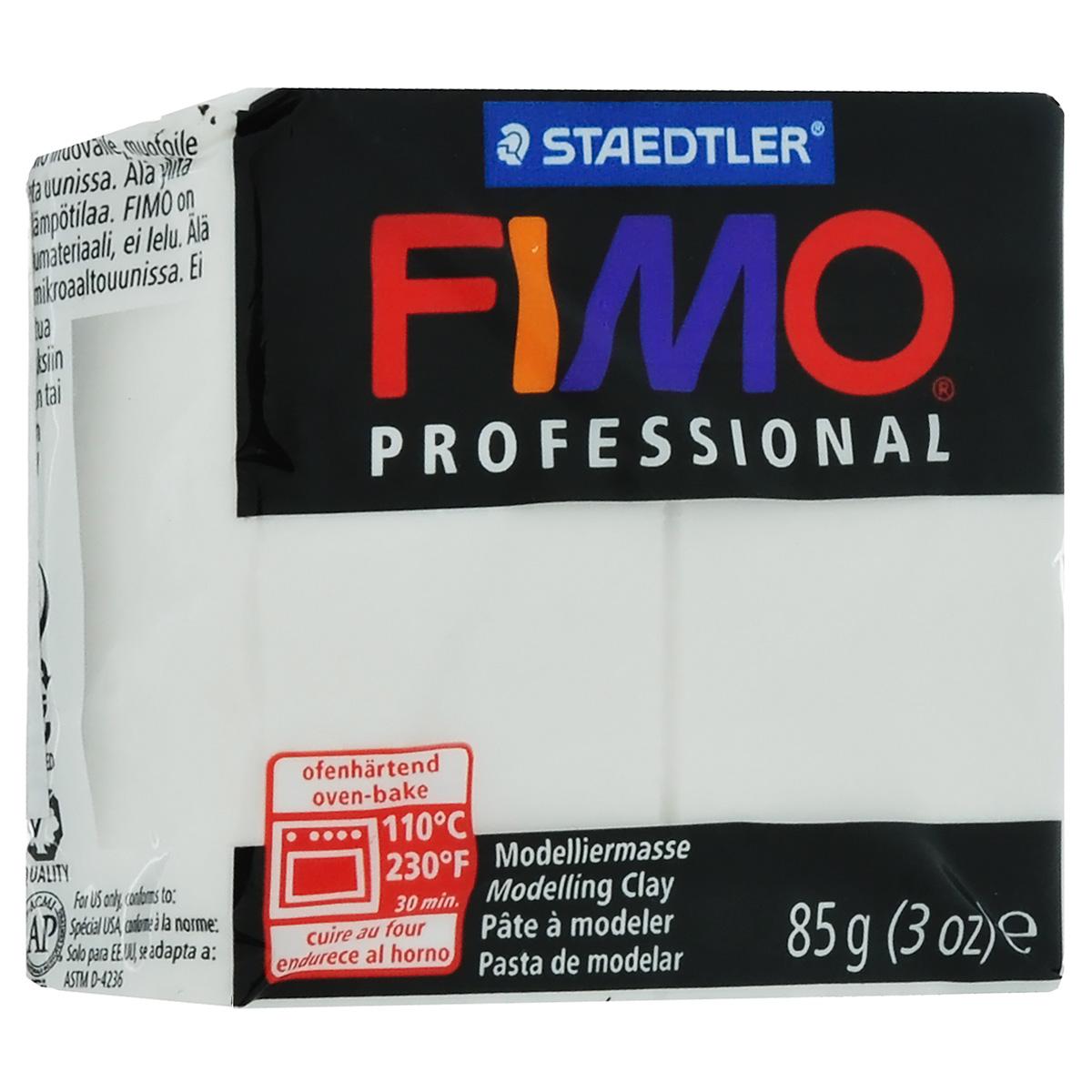 Полимерная глина Fimo Professional, цвет: белый, 85 г8004-0Мягкая глина на полимерной основе (пластика) Fimo Professional идеально подходит для лепки небольших изделий (украшений, скульптурок, кукол) и для моделирования. Глина обладает отличными пластичными свойствами, хорошо размягчается и лепится, легко смешивается между собой, благодаря чему можно создать огромное количество поделок любых цветов и оттенков, не имеет запаха. Блок разделен на 2 сегмента, что позволяет легче разделять глину на порции. В домашних условиях готовая поделка выпекается в духовом шкафу при температуре 110°С в течение 15-30 минут (в зависимости от величины изделия). Отвердевшие изделия могут быть раскрашены акриловыми красками, покрыты лаком, склеены друг с другом или с другими материалами.