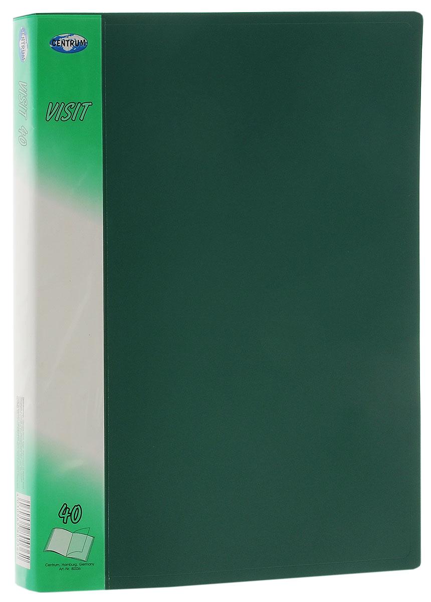 Centrum Папка с файлами Visit 40 листов цвет зеленый80036ЧПапка Centrum Visit содержит 40 прозрачных вкладышей-файлов и предназначена для хранения, презентации документов формата А4. Папка изготовлена из прочного материала, благодаря чему документы, помещенные в нее, будут надежно защищены. Прочное соединение папки и вкладышей обеспечено за счет их лазерной сварки. Углы папки закруглены. Папка надежно сохранит ваши документы и сбережет их от повреждений, пыли и влаги.