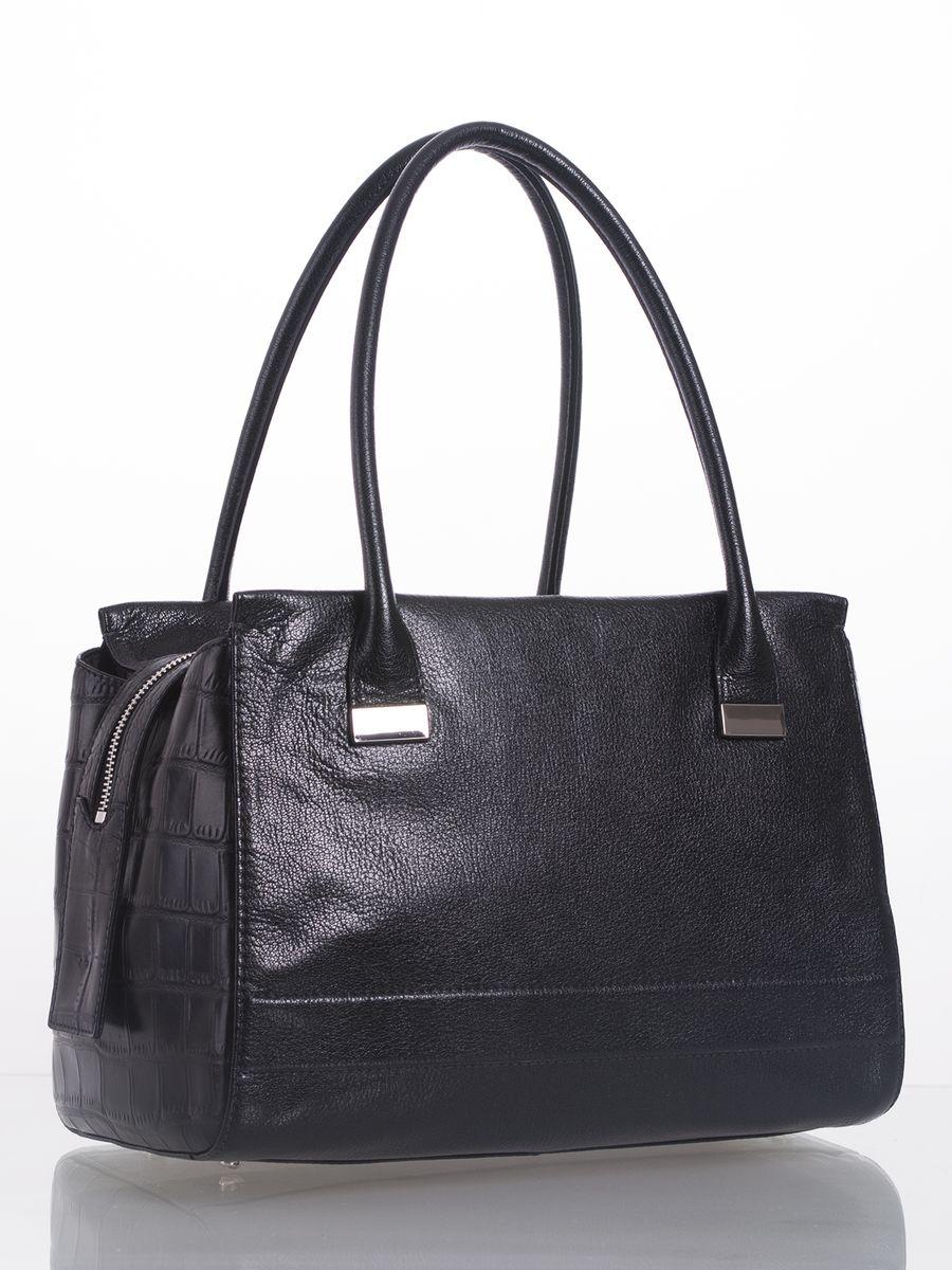 Сумка женская Palio, цвет: черный. 14129A3-W114129A3-W1Стильная сумка Palio выполнена из натуральной кожи с зернистой фактурой, оформлена металлической фурнитурой с символикой бренда и кожаными вставками. С тиснением под рептилию. Сумка содержит одно отделение, которое закрывается на застежку-молнию. Внутри изделия расположен врезной карман на молнии и два накладных кармана для телефона и мелочей. Снаружи, в тыльной стенке сумки размещен врезной карман на молнии. Изделие оснащено двумя практичными ручками, которые позволят носить сумку, как в руках, так и на плече. Ручки сумки дополнены фурнитурой из металла. Дно сумки оснащено металлическими ножками, которые защитят изделие от преждевременных повреждений. Оригинальный аксессуар позволит вам завершить образ и быть неотразимой.