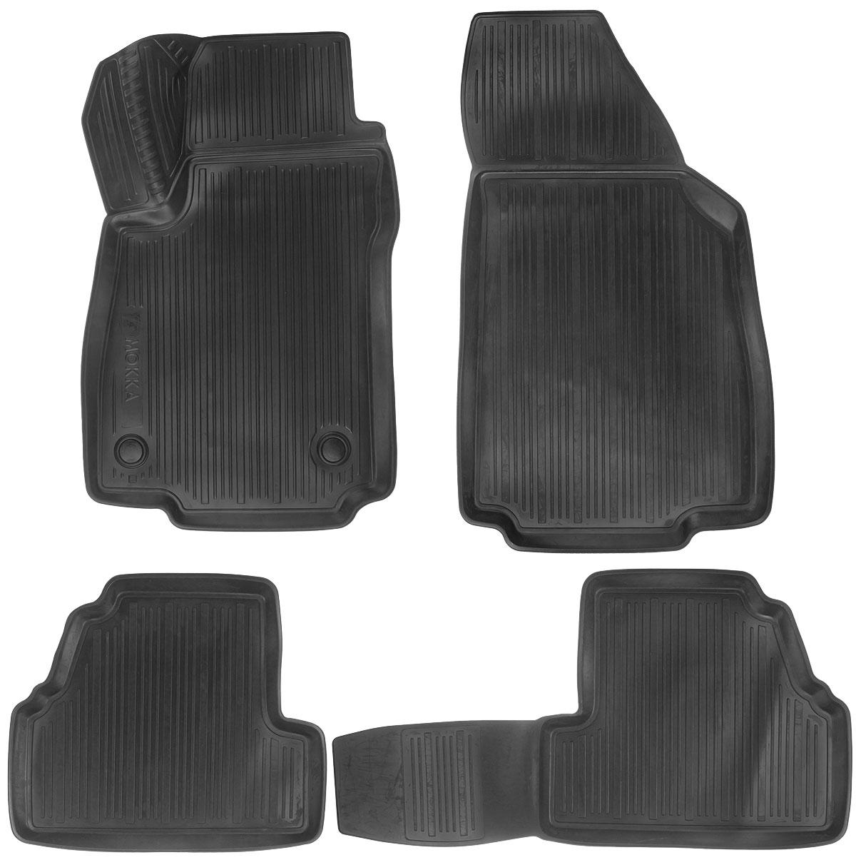 Набор автомобильных ковриков L.Locker Opel Mokka 2012, в салон, 4 шт0211080101Набор L.Locker Opel Mokka 2012, изготовленный из полиуретана, состоит из 4 антискользящих 3D ковриков, которые производятся индивидуально для каждой модели автомобиля. Изделие точно повторяет геометрию пола автомобиля, имеет высокий борт, обладает повышенной износоустойчивостью, лишено резкого запаха и сохраняет свои потребительские свойства в широком диапазоне температур от -50°С до +50°С. Комплектация: 4 шт. Размер ковриков: 80 см х 51 см; 50 см х 87,5 см; 84 см х 44 см; 51 см х 44 см.