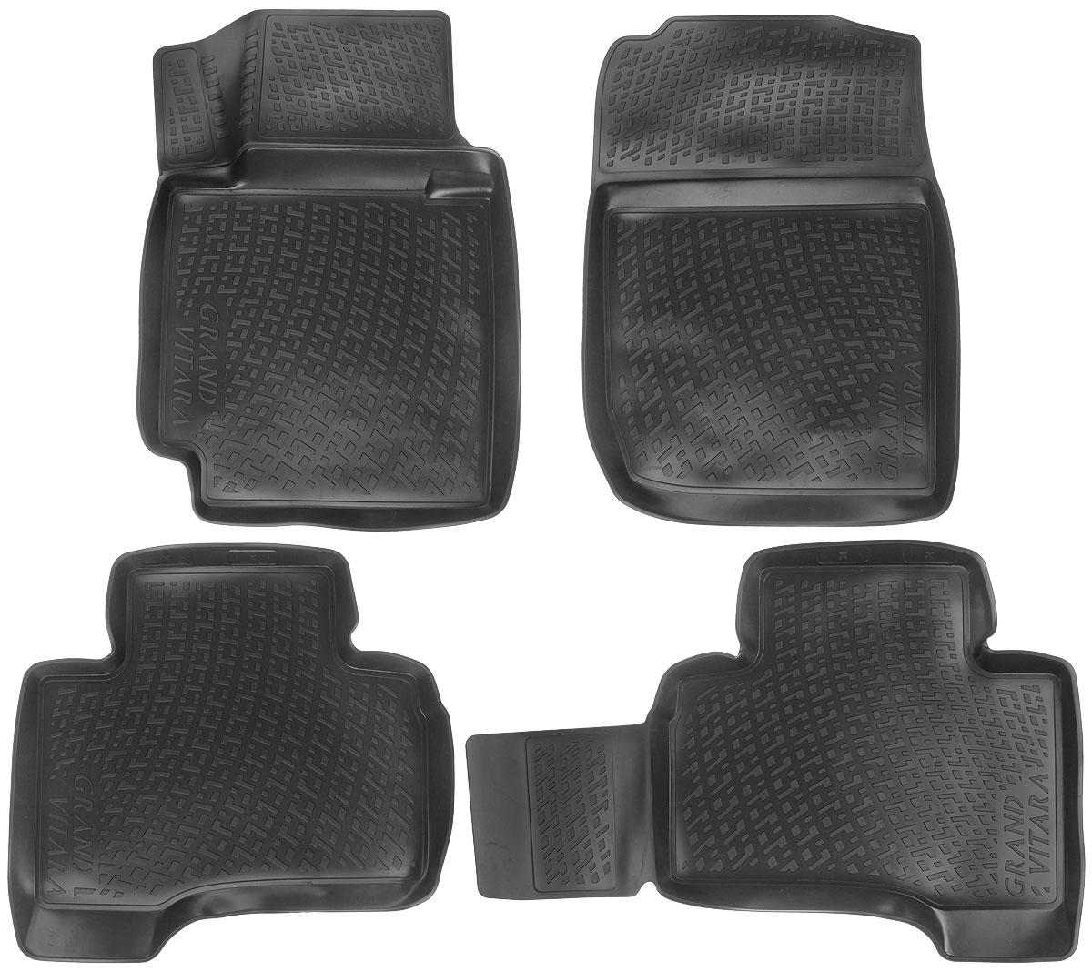 Набор автомобильных ковриков L.Locker Suzuki Grand Vitara 5 dr. 2005, в салон, 4 шт0212020201Набор L.Locker Suzuki Grand Vitara 5 dr. 2005, изготовленный из полиуретана, состоит из 4 антискользящих 3D ковриков, которые производятся индивидуально для каждой модели автомобиля. Изделие точно повторяет геометрию пола автомобиля, имеет высокий борт, обладает повышенной износоустойчивостью, лишено резкого запаха и сохраняет свои потребительские свойства в широком диапазоне температур от -50°С до +50°С. Набор подходит для автомобилей с 2005 года выпуска. Комплектация: 4 шт. Размер ковриков: 74 см х 54 см; 58 см х 61 см; 87 см х 58 см; 73 см х 53 см.