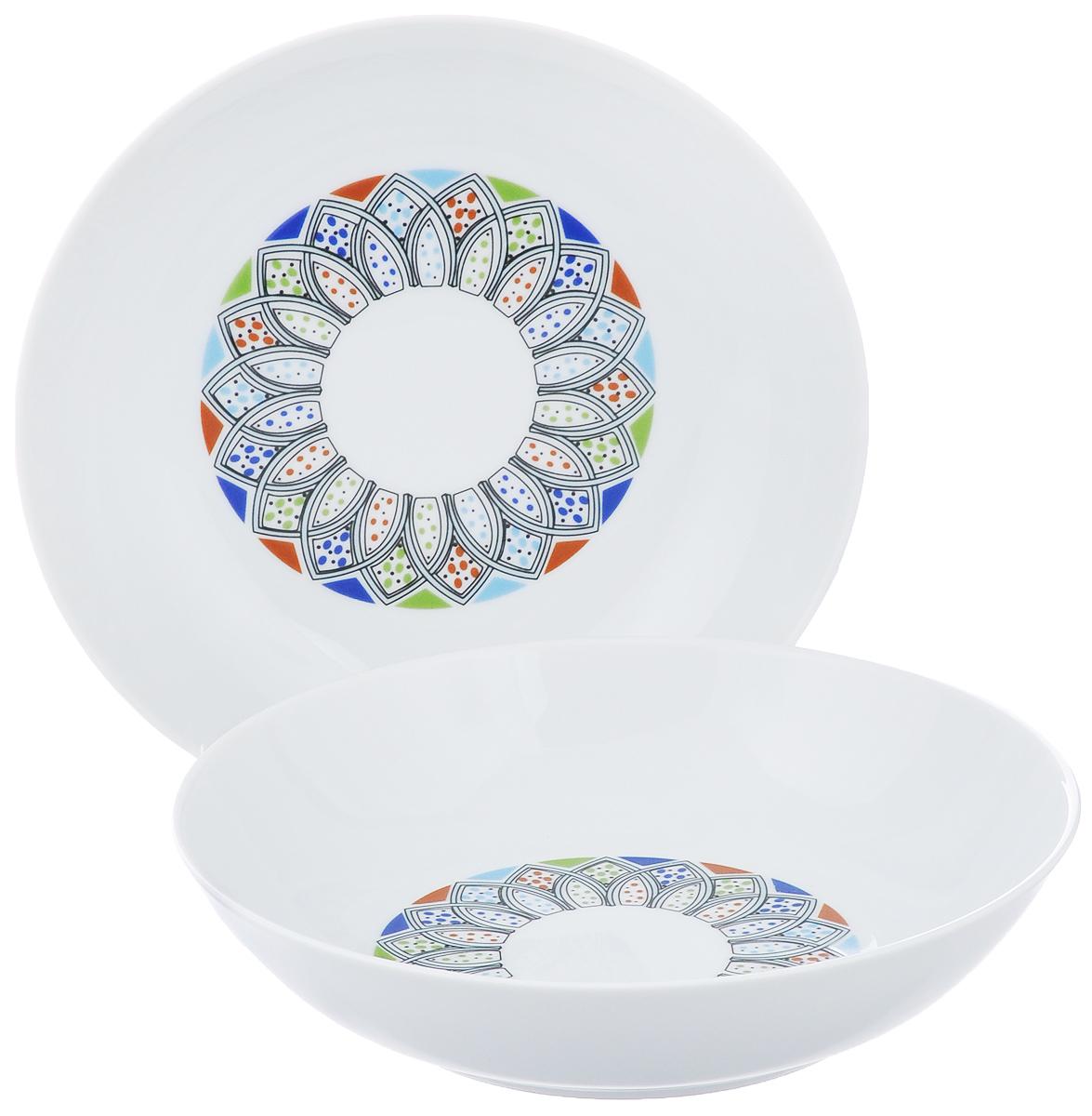 Набор тарелок La Rose Des Sables Monalisa, диаметр 20 см, 2 шт55 0221 2094Набор La Rose Des Sables Monalisa, выполненный из высококачественного фарфора, состоит из двух глубоких тарелок. Изделия декорированы оригинальным восточным узором и прекрасно подойдут для красивой сервировки стола. Эстетичность, функциональность и изящный дизайн сделают набор достойным дополнением к вашему кухонному инвентарю. Набор тарелок La Rose Des Sables Monalisa украсит ваш стол и станет отличным подарком к любому празднику. Диаметр тарелки: 20 см. Высота тарелки: 4,7 см.