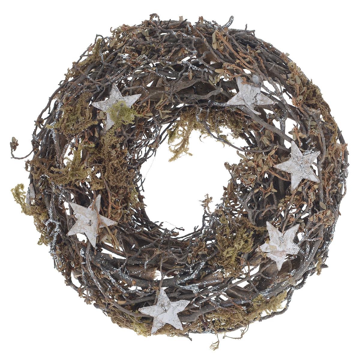 Венок декоративный Dongjiang Art, диаметр 35 см. 77089187708918Венок декоративный Dongjiang Art дополнит интерьер любого помещения, а также сможет стать оригинальным подарком для ваших друзей и близких. Композиция выполнена в виде венка из деревянного каркаса, декорированного звездами и блестками. Дополнительно вы можете украсить венок лентами, фигурками, красивыми бусинами, цветной бумагой и другим материалом. Оформление помещения декоративным венком создаст праздничную, по-настоящему радостную и теплую атмосферу. Диаметр венка: 35 см.