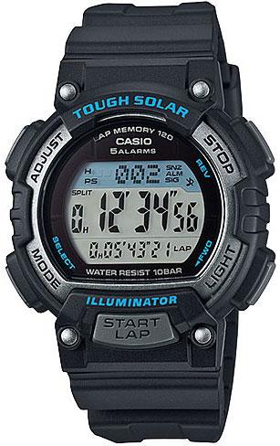 Часы наручные Casio, цвет: черный. STL-S300H-1ASTL-S300H-1AНаручные часы Casio произведены опытными специалистами из материалов самого высокого качества на базе новейших технологий. Часы прошли тщательную проверку и контроль качества. Часы оснащены кварцевым механизмом. Корпус выполнен из высококачественной нержавеющей стали с пластиковыми вставками. Дисплей часов защищен минеральным стеклом, устойчивым к появлению царапин и подсвечивается светодиодом. Ремешок часов выполнен из полимерного материала и оснащен застежкой-пряжкой. Часы имеют дополнительные функции: мировое время, индикатор даты, секундомер, таймер, будильник. Питание от солнечной энергии, индикатор заряда батареи. Функция автоматического сохранения энергии. Время работы аккумулятора без подзарядки - 13 месяцев, при включенной функции сохранения энергии - 38 месяцев. Часы укомплектованы паспортом с подробной инструкцией и упакованы в оригинальную фирменную коробку. Характеристики: Длина ремешка (с учетом корпуса): 22,5 см. ...