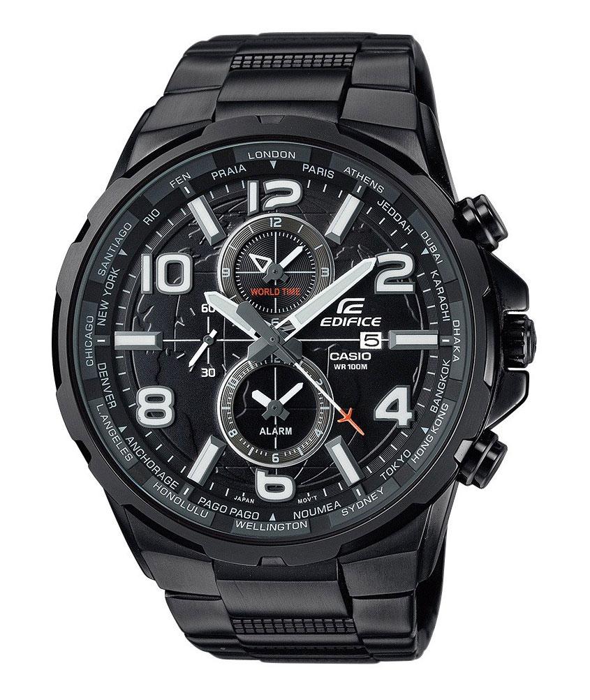 Часы наручные Casio, цвет: черный. EFR-302BK-1AEFR-302BK-1AНаручные часы Casio произведены опытными специалистами из материалов самого высокого качества на базе новейших технологий. Часы прошли тщательную проверку и контроль качества. Часы оснащены японским кварцевым механизмом. Корпус выполнен из высококачественной нержавеющей стали с IP покрытием. Циферблат оформлен накладными знаками в виде арабских цифр и отметок, защищен минеральным стеклом. Часы имеют три стрелки: часовую, минутную и секундную. Необритовое светонакопительное покрытие стрелок и отметок обеспечивает длительное послесвечение в темноте даже после кратковременного нахождения на свету. Браслет часов выполнен из высококачественной нержавеющей стали с IP покрытием и оснащен застежкой-клипсой. Часы имеют дополнительные функции: мировое время, индикатор даты, будильник. Часы укомплектованы паспортом с подробной инструкцией и упакованы в оригинальную фирменную коробку. Характеристики: Длина браслета (с учетом...