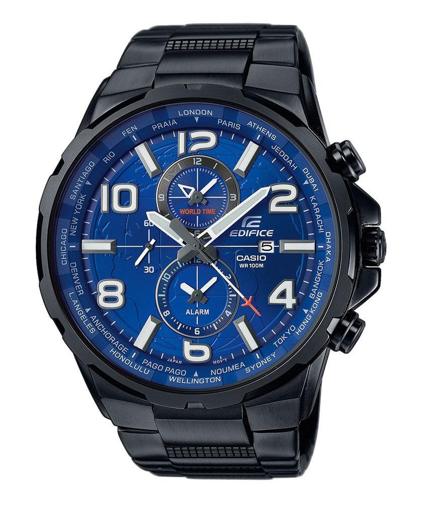 Часы наручные Casio, цвет: черный, синий. EFR-302BK-2AEFR-302BK-2AНаручные часы Casio произведены опытными специалистами из материалов самого высокого качества на базе новейших технологий. Часы прошли тщательную проверку и контроль качества. Часы оснащены японским кварцевым механизмом. Корпус выполнен из высококачественной нержавеющей стали с IP покрытием. Циферблат оформлен накладными знаками в виде арабских цифр и отметок, защищен минеральным стеклом. Часы имеют три стрелки: часовую, минутную и секундную. Необритовое светонакопительное покрытие стрелок и отметок обеспечивает длительное послесвечение в темноте даже после кратковременного нахождения на свету. Браслет часов выполнен из высококачественной нержавеющей стали с IP покрытием и оснащен застежкой-клипсой. Часы имеют дополнительные функции: мировое время, индикатор даты, будильник. Часы укомплектованы паспортом с подробной инструкцией и упакованы в оригинальную фирменную коробку. Характеристики: Длина браслета (с учетом...