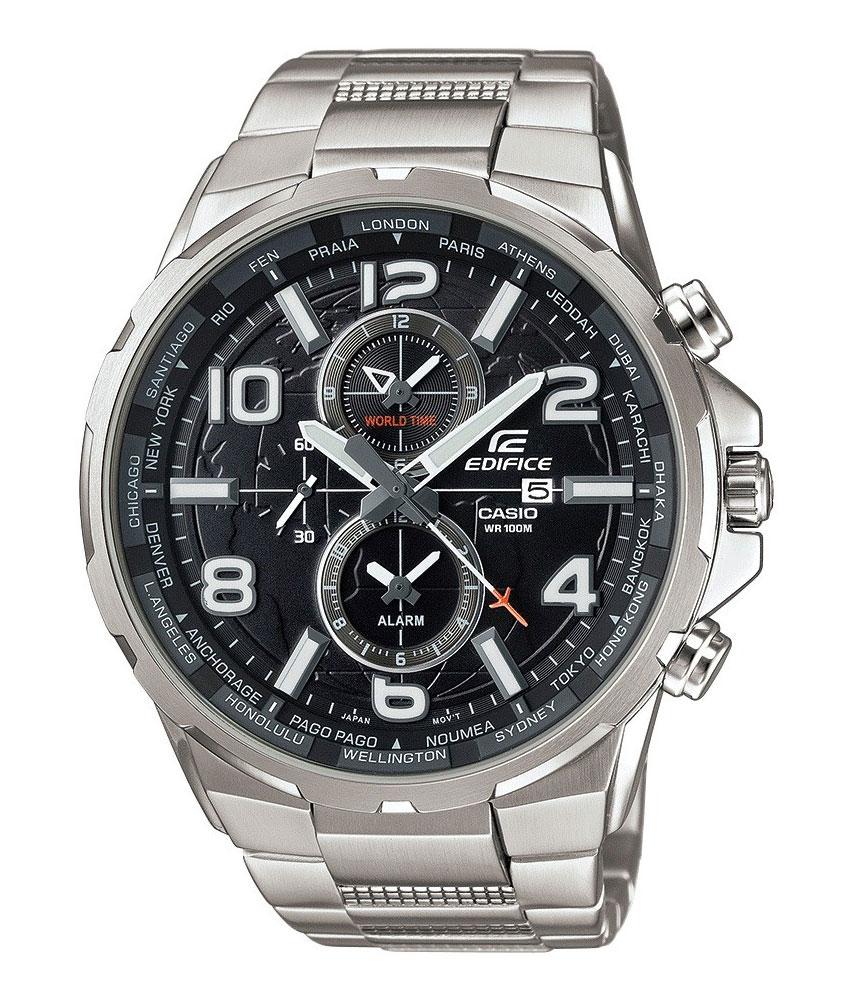 Часы наручные Casio, цвет: черный, серебристый. EFR-302D-1AEFR-302D-1AНаручные часы Casio произведены опытными специалистами из материалов самого высокого качества на базе новейших технологий. Часы прошли тщательную проверку и контроль качества. Часы оснащены японским кварцевым механизмом. Корпус выполнен из высококачественной нержавеющей стали. Циферблат оформлен накладными знаками в виде арабских цифр и отметок, защищен минеральным стеклом. Часы имеют три стрелки: часовую, минутную и секундную. Необритовое светонакопительное покрытие стрелок и отметок обеспечивает длительное послесвечение в темноте даже после кратковременного нахождения на свету. Браслет часов выполнен из высококачественной нержавеющей стали и оснащен застежкой-клипсой. Часы имеют дополнительные функции: мировое время, индикатор даты, будильник. Часы укомплектованы паспортом с подробной инструкцией и упакованы в оригинальную фирменную коробку. Характеристики: Длина браслета (с учетом корпуса): 25 см. Ширина...