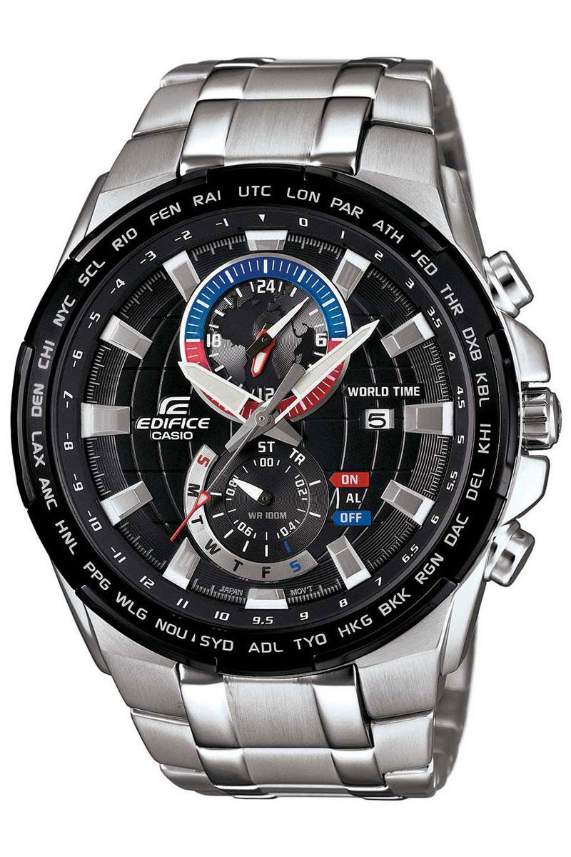 Часы наручные Casio, цвет: черный, серебристый. EFR-550D-1AEFR-550D-1AНаручные часы Casio произведены опытными специалистами из материалов самого высокого качества на базе новейших технологий. Часы прошли тщательную проверку и контроль качества. Часы оснащены японским кварцевым механизмом. Корпус выполнен из высококачественной нержавеющей стали с частичным IP покрытием. Циферблат оформлен накладными знаками в виде отметок и защищен минеральным стеклом. Часы имеют три стрелки: часовую, минутную и секундную. Необритовое светонакопительное покрытие стрелок и отметок обеспечивает длительное послесвечение в темноте даже после кратковременного нахождения на свету. Браслет часов выполнен из высококачественной нержавеющей стали и оснащен застежкой-клипсой. Часы имеют дополнительные функции: мировое время, индикатор даты, хронограф и секундомер, таймер, будильник. Часы укомплектованы паспортом с подробной инструкцией и упакованы в оригинальную фирменную коробку. Характеристики: Длина браслета (с...