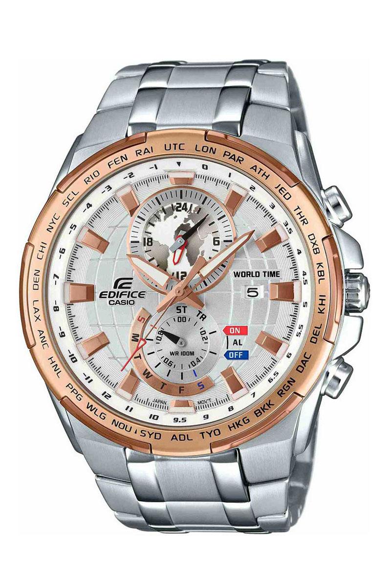 Часы наручные Casio, цвет: серебристый, золотистый. EFR-550D-7AEFR-550D-7AНаручные часы Casio произведены опытными специалистами из материалов самого высокого качества на базе новейших технологий. Часы прошли тщательную проверку и контроль качества. Часы оснащены японским кварцевым механизмом. Корпус выполнен из высококачественной нержавеющей стали с частичным IP покрытием. Циферблат оформлен накладными знаками в виде отметок и защищен минеральным стеклом. Часы имеют три стрелки: часовую, минутную и секундную. Необритовое светонакопительное покрытие стрелок и отметок обеспечивает длительное послесвечение в темноте даже после кратковременного нахождения на свету. Браслет часов выполнен из высококачественной нержавеющей стали и оснащен застежкой-клипсой. Часы имеют дополнительные функции: мировое время, индикатор даты, хронограф и секундомер, таймер, будильник. Часы укомплектованы паспортом с подробной инструкцией и упакованы в оригинальную фирменную коробку. Характеристики: Длина браслета (с...