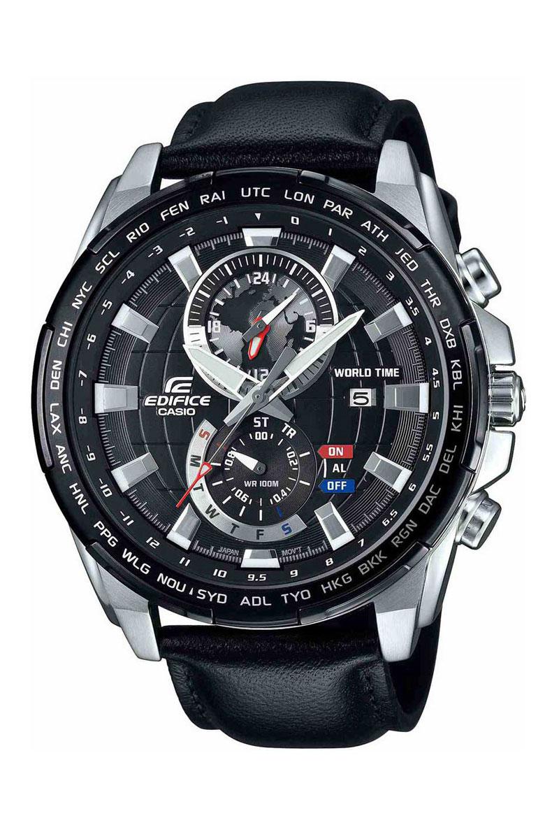 Часы наручные Casio, цвет: черный, серебристый. EFR-550L-1AEFR-550L-1AНаручные часы Casio произведены опытными специалистами из материалов самого высокого качества на базе новейших технологий. Часы прошли тщательную проверку и контроль качества. Часы оснащены японским кварцевым механизмом. Корпус выполнен из высококачественной нержавеющей стали с частичным IP покрытием. Циферблат оформлен накладными знаками в виде отметок, защищен минеральным стеклом. Часы имеют три стрелки: часовую, минутную и секундную. Необритовое светонакопительное покрытие стрелок и отметок обеспечивает длительное послесвечение в темноте даже после кратковременного нахождения на свету. Ремешок часов выполнен из натуральной кожи и оснащен застежкой-пряжкой. Часы имеют дополнительные функции: мировое время, секундомер, таймер, индикатор даты, будильник, хронограф. Часы укомплектованы паспортом с подробной инструкцией и упакованы в оригинальную фирменную коробку. Характеристики: Длина ремешка (с учетом корпуса): 25 см. ...