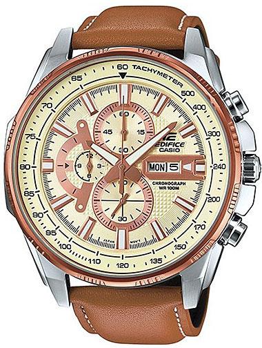 Часы наручные Casio, цвет: кремовый, светло-коричневый. EFR-549L-7A