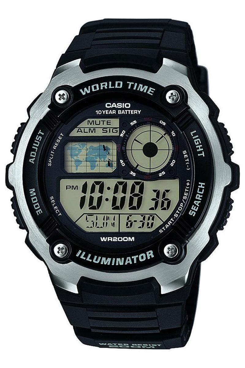 Часы наручные Casio, цвет: черный. AE-2100W-1AAE-2100W-1AНаручные часы Casio произведены опытными специалистами из материалов самого высокого качества на базе новейших технологий. Часы прошли тщательную проверку и контроль качества. Часы оснащены кварцевым механизмом. Корпус выполнен из высококачественной нержавеющей стали с пластиковыми вставками. Дисплей часов защищен минеральным стеклом, устойчивым к появлению царапин и подсвечивается светодиодом. Ремешок часов выполнен из полимерного материала и оснащен застежкой-пряжкой. Часы имеют дополнительные функции: мировое время, индикатор даты, секундомер, таймер, будильник. Часы укомплектованы паспортом с подробной инструкцией и упакованы в оригинальную фирменную коробку. Характеристики: Длина ремешка (с учетом корпуса): 27 см. Ширина ремешка: 2 см. Диаметр корпуса: 5,5 см. Диаметр циферблата: 4,5 см. Дополнительные функции: Мировое время - 31 город (48 часовых поясов), всемирное координированное время (UTC), отображение...