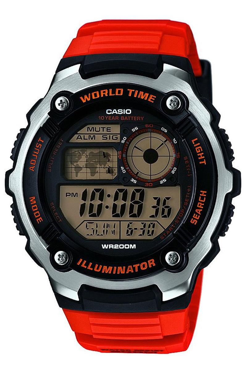 Часы наручные Casio, цвет: оранжевый, черный, серебристый. AE-2100W-4AAE-2100W-4AНаручные часы Casio произведены опытными специалистами из материалов самого высокого качества на базе новейших технологий. Часы прошли тщательную проверку и контроль качества. Часы оснащены кварцевым механизмом. Корпус выполнен из высококачественной нержавеющей стали с пластиковыми вставками. Дисплей часов защищен минеральным стеклом, устойчивым к появлению царапин и подсвечивается светодиодом. Ремешок часов выполнен из полимерного материала и оснащен застежкой-пряжкой. Часы имеют дополнительные функции: мировое время, индикатор даты, секундомер, таймер, будильник. Часы укомплектованы паспортом с подробной инструкцией и упакованы в оригинальную фирменную коробку. Характеристики: Длина ремешка (с учетом корпуса): 27 см. Ширина ремешка: 2 см. Диаметр корпуса: 5,5 см. Диаметр циферблата: 4,5 см. Дополнительные функции: Мировое время - 31 город (48 часовых поясов), всемирное координированное время (UTC), отображение...