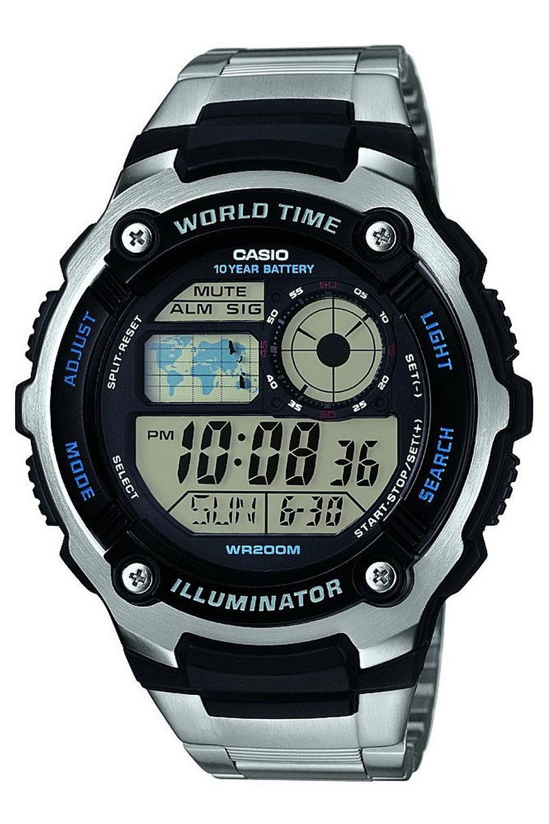 Часы наручные Casio, цвет: черный, стальной. AE-2100WD-1AAE-2100WD-1AМногофункциональные часы Casio выполнены из полимерного материала, нержавеющей стали и минерального стекла. Корпус часов дополнен символикой бренда. Корпус изделия изготовлен из полимерного материала с элементами из нержавеющей стали и имеет степень влагозащиты равную 20 atm. Часы оснащены долговечным механизмом и дополнительной функцией светодиодной подсветки циферблата. Дополнительные функции часов: мировое время, секундомер, таймер, будильник, автоматический календарь, второй часовой пояс. Браслет изделия выполнен из нержавеющей стали и дополнен практичным складным замком, который позволит моментально снимать и одевать часы без лишних усилий. Изделие поставляется в фирменной упаковке. Часы Casio подчеркнут отменное чувство стиля у их обладателя.