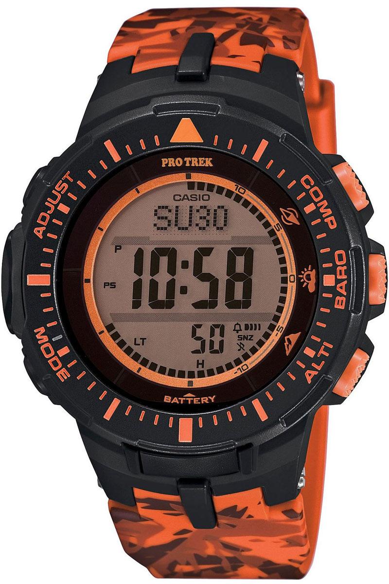 Часы мужские наручные Casio Pro Trek, цвет: черный, оранжевый. PRG-300CM-4ERPRG-300CM-4ERМногофункциональные часы Casio Pro Trek выполнены из полимерного материала, нержавеющей стали и минерального стекла. Корпус часов дополнен символикой бренда, браслет оформлен принтом камуфляж. Корпус изделия изготовлен из полимерного материала с элементами из нержавеющей стали и имеет степень влагозащиты равную 10 atm. Часы оснащены долговечным механизмом. Дополнительные функции часов: -Полностью автоматическая светодиодная подсветка: поворот руки при недостаточном освещении обеспечит автоматическое включение подсветки дисплея. -Солнечная батарея: солнечная подзаряжающаяся батарейка обеспечивает питание часов для работы. -Устойчивость к низким температурам (-10 °C): даже температура ниже -10°C не оказывает никакого влияния на эти часы. -Цифровой компас: встроенный цифровой компас определяет северный магнитный полюс. -Барометр (260/1.100 hPa): специальный датчик измеряет давление воздуха (диапазон измерений составляет 260/1100 гПа,...