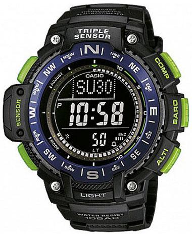 Часы наручные Casio, цвет: черный, зеленый, синий. SGW-1000-2BSGW-1000-2BМногофункциональные часы Casio выполнены из полимерного материала, нержавеющей стали и минерального стекла. Корпус часов дополнен символикой бренда. Корпус изделия изготовлен из полимерного материала с элементами из нержавеющей стали и имеет степень влагозащиты равную 10 atm. Часы оснащены долговечным механизмом и дополнительной функцией электролюминесцентной подсветки циферблата. Дополнительные функции часов: устойчивость к низким температурам, барометр, термометр, данные о восходе и закате солнца, цифровой компас, высотомер, график набора высоты, мировое время, секундомер, таймер, будильник, функция повтора будильника, автоматический календарь, второй часовой пояс. Браслет изделия выполнен из долговечного полимерного материала и дополнен практичной застежкой-пряжкой, которая позволит моментально снимать и одевать часы без лишних усилий. Изделие поставляется в фирменной упаковке. Часы Casio подчеркнут отменное чувство стиля у их обладателя.
