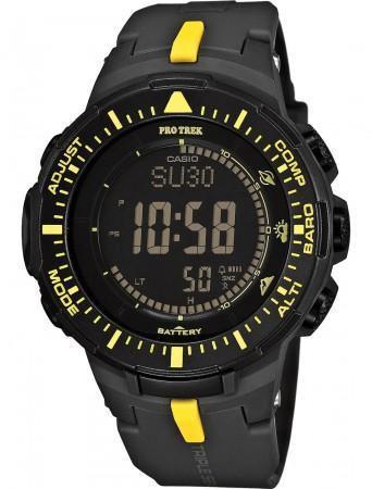 Часы мужские наручные Casio Pro Trek, цвет: черный, желтый. PRG-300-1A9ERPRG-300-1A9ERМногофункциональные часы Casio Pro Trek выполнены из полимерного материала, нержавеющей стали и минерального стекла. Корпус часов дополнен символикой бренда, браслет оформлен принтом камуфляж. Корпус изделия изготовлен из полимерного материала с элементами из нержавеющей стали и имеет степень влагозащиты равную 10 atm. Часы оснащены долговечным механизмом. Дополнительные функции часов: -Полностью автоматическая светодиодная подсветка: поворот руки при недостаточном освещении обеспечит автоматическое включение подсветки дисплея. -Солнечная батарея: солнечная подзаряжающаяся батарейка обеспечивает питание часов для работы. -Устойчивость к низким температурам (-10 °C): даже температура ниже -10°C не оказывает никакого влияния на эти часы. -Цифровой компас: встроенный цифровой компас определяет северный магнитный полюс. -Барометр (260/1.100 hPa): специальный датчик измеряет давление воздуха (диапазон измерений составляет...