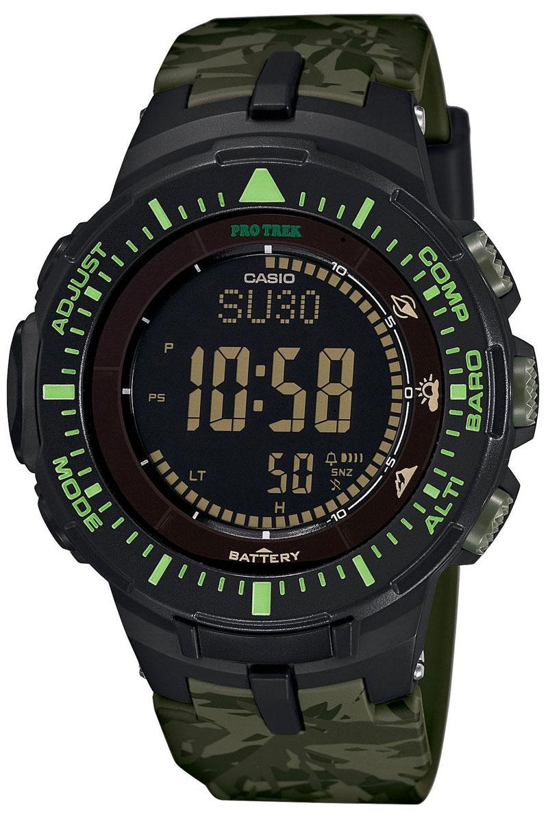 Часы мужские наручные Casio Pro Trek, цвет: черный, зеленый. PRG-300CM-3ERPRG-300CM-3ERМногофункциональные часы Casio Pro Trek выполнены из полимерного материала, нержавеющей стали и минерального стекла. Корпус часов дополнен символикой бренда, браслет оформлен принтом камуфляж. Корпус изделия изготовлен из полимерного материала с элементами из нержавеющей стали и имеет степень влагозащиты равную 10 atm. Часы оснащены долговечным механизмом. Дополнительные функции часов: -Полностью автоматическая светодиодная подсветка: поворот руки при недостаточном освещении обеспечит автоматическое включение подсветки дисплея. -Солнечная батарея: солнечная подзаряжающаяся батарейка обеспечивает питание часов для работы. -Устойчивость к низким температурам (-10 °C): даже температура ниже -10°C не оказывает никакого влияния на эти часы. -Цифровой компас: встроенный цифровой компас определяет северный магнитный полюс. -Барометр (260/1.100 hPa): специальный датчик измеряет давление воздуха (диапазон измерений составляет 260/1100 гПа,...