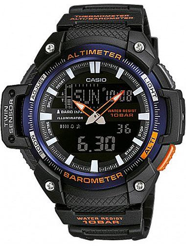 Часы наручные Casio, цвет: черный, синий, оранжевый. SGW-450H-2BSGW-450H-2BМногофункциональные часы Casio выполнены из полимерного материала, нержавеющей стали и минерального стекла. Корпус часов дополнен символикой бренда. Корпус изделия изготовлен из полимерного материала с элементами из нержавеющей стали и имеет степень влагозащиты равную 10 atm. Часы оснащены долговечным механизмом и дополнительной функцией электролюминесцентной подсветки циферблата. Дополнительные функции часов: барометр, термометр, альтиметр, мировое время, секундомер, таймер, будильник, автоматический календарь, второй часовой пояс. Браслет изделия выполнен из долговечного полимерного материала и дополнен практичной застежкой-пряжкой, которая позволит моментально снимать и одевать часы без лишних усилий. Изделие поставляется в фирменной упаковке. Часы Casio подчеркнут отменное чувство стиля у их обладателя.
