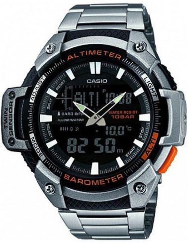 Часы наручные Casio, цвет: черный, стальной, оранжевый. SGW-450HD-1BSGW-450HD-1BМногофункциональные часы Casio выполнены из полимерного материала, нержавеющей стали и минерального стекла. Корпус часов дополнен символикой бренда. Корпус изделия изготовлен из полимерного материала с элементами из нержавеющей стали и имеет степень влагозащиты равную 10 atm. Часы оснащены долговечным механизмом и дополнительной функцией электролюминесцентной подсветки циферблата. Дополнительные функции часов: барометр, термометр, альтиметр, мировое время, секундомер, таймер, будильник, автоматический календарь, второй часовой пояс. Браслет изделия выполнен из нержавеющей стали и дополнен практичным складным замком, который позволит моментально снимать и одевать часы без лишних усилий. Изделие поставляется в фирменной упаковке. Часы Casio подчеркнут отменное чувство стиля у их обладателя.