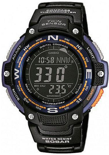 Часы наручные Casio, цвет: черный, синий, оранжевый. SGW-100-2BSGW-100-2BМногофункциональные часы Casio выполнены из полимерного материала, нержавеющей стали и минерального стекла. Корпус часов дополнен символикой бренда. Корпус изделия изготовлен из полимерного материала с элементами из нержавеющей стали и имеет степень влагозащиты равную 20 atm. Часы оснащены долговечным механизмом и дополнительной функцией электролюминесцентной подсветки циферблата. Дополнительные функции часов: цифровой компас, термометр, мировое время, секундомер, таймер, будильник, автоматический календарь. Браслет изделия выполнен из долговечного полимерного материала и дополнен практичной застежкой-пряжкой, которая позволит моментально снимать и одевать часы без лишних усилий. Изделие поставляется в фирменной упаковке. Часы Casio подчеркнут отменное чувство стиля у их обладателя.