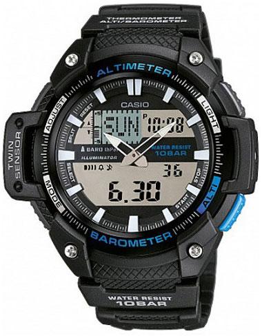 Часы наручные Casio, цвет: черный, синий. SGW-450H-1ASGW-450H-1AМногофункциональные часы Casio выполнены из полимерного материала, нержавеющей стали и минерального стекла. Корпус часов дополнен символикой бренда. Корпус изделия изготовлен из полимерного материала с элементами из нержавеющей стали и имеет степень влагозащиты равную 10 atm. Часы оснащены долговечным механизмом и дополнительной функцией электролюминесцентной подсветки циферблата. Дополнительные функции часов: барометр, термометр, альтиметр, мировое время, секундомер, таймер, будильник, автоматический календарь, второй часовой пояс. Браслет изделия выполнен из долговечного полимерного материала и дополнен практичной застежкой-пряжкой, которая позволит моментально снимать и одевать часы без лишних усилий. Изделие поставляется в фирменной упаковке. Часы Casio подчеркнут отменное чувство стиля у их обладателя.