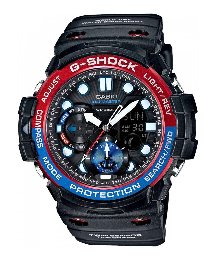 Часы наручные Casio, цвет: черный, красный, синий. GN-1000-1AGN-1000-1AНаручные часы Casio произведены опытными специалистами из материалов самого высокого качества на базе новейших технологий. Часы прошли тщательную проверку и контроль качества. Часы оснащены кварцевым механизмом. Корпус выполнен из полимерного материала. Дисплей часов защищен минеральным стеклом, устойчивым к появлению царапин и подсвечивается светодиодной автоматической супер-подсветкой. При движении руки дисплей освещается ярким светом. Ремешок часов выполнен из полимерного материала и оснащен застежкой-пряжкой. Часы имеют дополнительные функции: мировое время, индикатор даты, секундомер, таймер, будильник, компас, термометр, приливы и возраст Луны. Ударопрочная конструкция защищает механизм от ударов и вибрации. Часы укомплектованы паспортом с подробной инструкцией и упакованы в оригинальную фирменную коробку. Характеристики: Длина ремешка (с учетом корпуса): 28 см. Ширина ремешка: 2,5 см. Диаметр корпуса: 5,5 см. ...