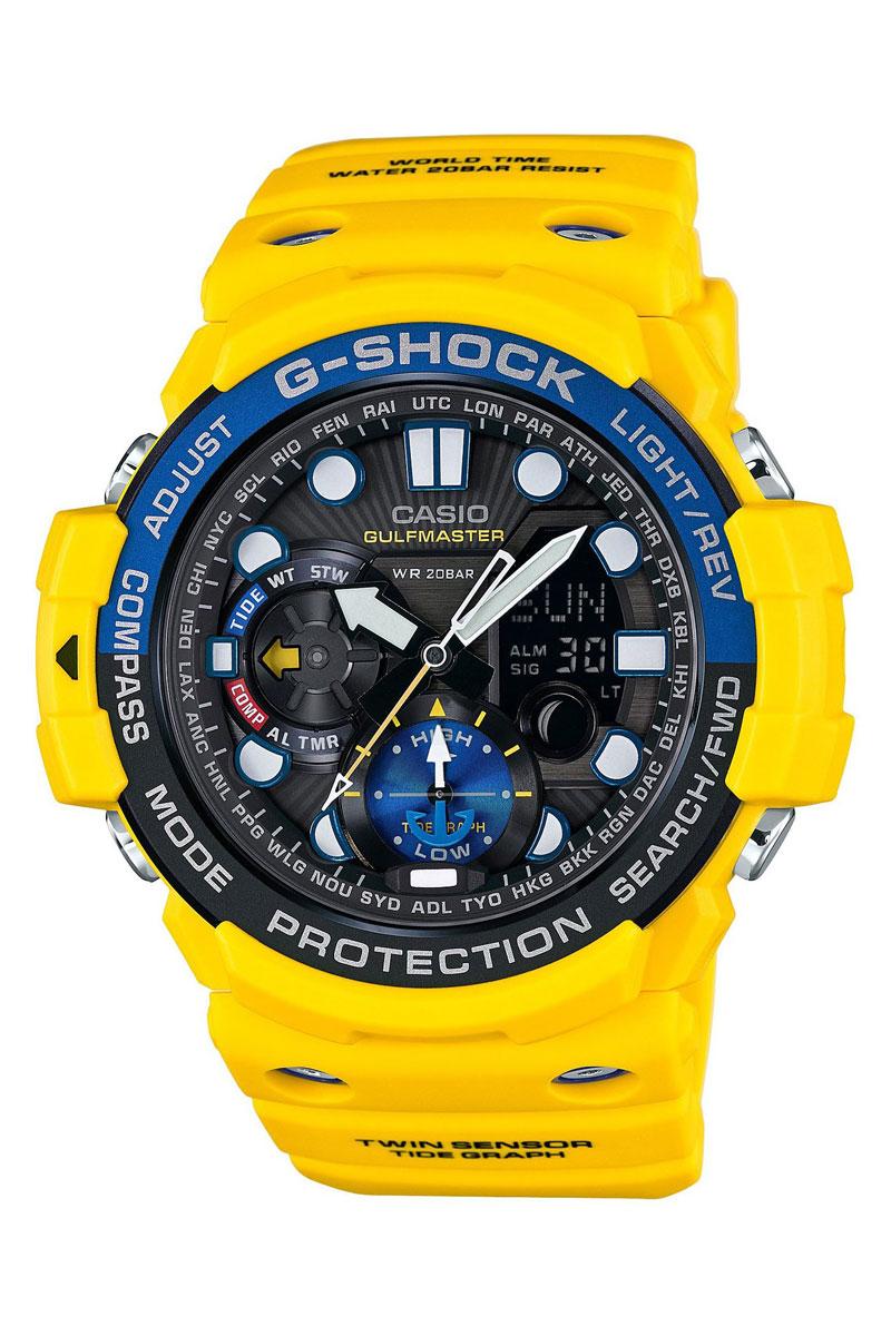 Часы наручные Casio, цвет: желтый, черный, синий. GN-1000-9AGN-1000-9AНаручные часы Casio произведены опытными специалистами из материалов самого высокого качества на базе новейших технологий. Часы прошли тщательную проверку и контроль качества. Часы оснащены кварцевым механизмом. Корпус выполнен из полимерного материала. Дисплей часов защищен минеральным стеклом, устойчивым к появлению царапин и подсвечивается светодиодной автоматической супер-подсветкой. При движении руки дисплей освещается ярким светом. Ремешок часов выполнен из полимерного материала и оснащен застежкой-пряжкой. Часы имеют дополнительные функции: мировое время, индикатор даты, секундомер, таймер, будильник, компас, термометр, приливы и возраст Луны. Ударопрочная конструкция защищает механизм от ударов и вибрации. Часы укомплектованы паспортом с подробной инструкцией и упакованы в оригинальную фирменную коробку. Характеристики: Длина ремешка (с учетом корпуса): 28 см. Ширина ремешка: 2,5 см. Диаметр корпуса: 5,5 см. ...