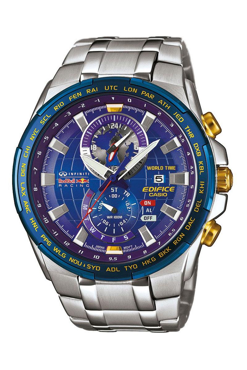 Часы мужские наручные Casio Edifice, цвет: стальной, синий. EFR-550RB-2AEREFR-550RB-2AERМногофункциональные часы Casio Edifice выполнены из нержавеющей стали и минерального стекла. Корпус часов оформлен символикой бренда. Корпус изделия изготовлен из нержавеющей стали и имеет степень влагозащиты равную 10 atm. Часы оснащены долговечным механизмом. Дополнительные функции часов: -Неоновый дисплей: светящееся покрытие обеспечивает длительную подсветку в темное время суток после короткого воздействия света. -Функция мирового времени: отображение текущего времени в основных городах и конкретных областях по всему миру. -Дисплей даты и дня недели: на дисплее отображается текущая дата и день недели. -Секундомер - 1/20 сек.-24 часов: измерение с точностью 1/20 секунды промежутка времени и времени окончания. Часы могут измерять время до 24 часов. -Таймер - 1/1 мин.-24 часа: таймеры обратного отсчета напомнят вам о текущих или особенных событиях, издав звуковой сигнал в установленное время. Время можно предварительно настроить...