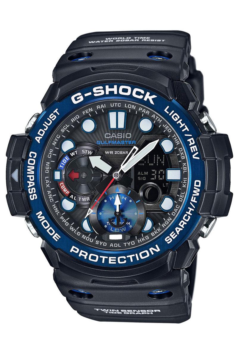 Часы наручные Casio, цвет: черный, синий. GN-1000B-1AGN-1000B-1AНаручные часы Casio произведены опытными специалистами из материалов самого высокого качества на базе новейших технологий. Часы прошли тщательную проверку и контроль качества. Часы оснащены кварцевым механизмом. Корпус выполнен из полимерного материала. Дисплей часов защищен минеральным стеклом, устойчивым к появлению царапин и подсвечивается светодиодной автоматической супер-подсветкой. При движении руки дисплей освещается ярким светом. Ремешок часов выполнен из полимерного материала и оснащен застежкой-пряжкой. Часы имеют дополнительные функции: мировое время, индикатор даты, секундомер, таймер, будильник, компас, термометр, приливы и возраст Луны. Ударопрочная конструкция защищает механизм от ударов и вибрации. Часы укомплектованы паспортом с подробной инструкцией и упакованы в оригинальную фирменную коробку. Характеристики: Длина ремешка (с учетом корпуса): 28 см. Ширина ремешка: 2,5 см. Диаметр корпуса: 5,5 см. ...