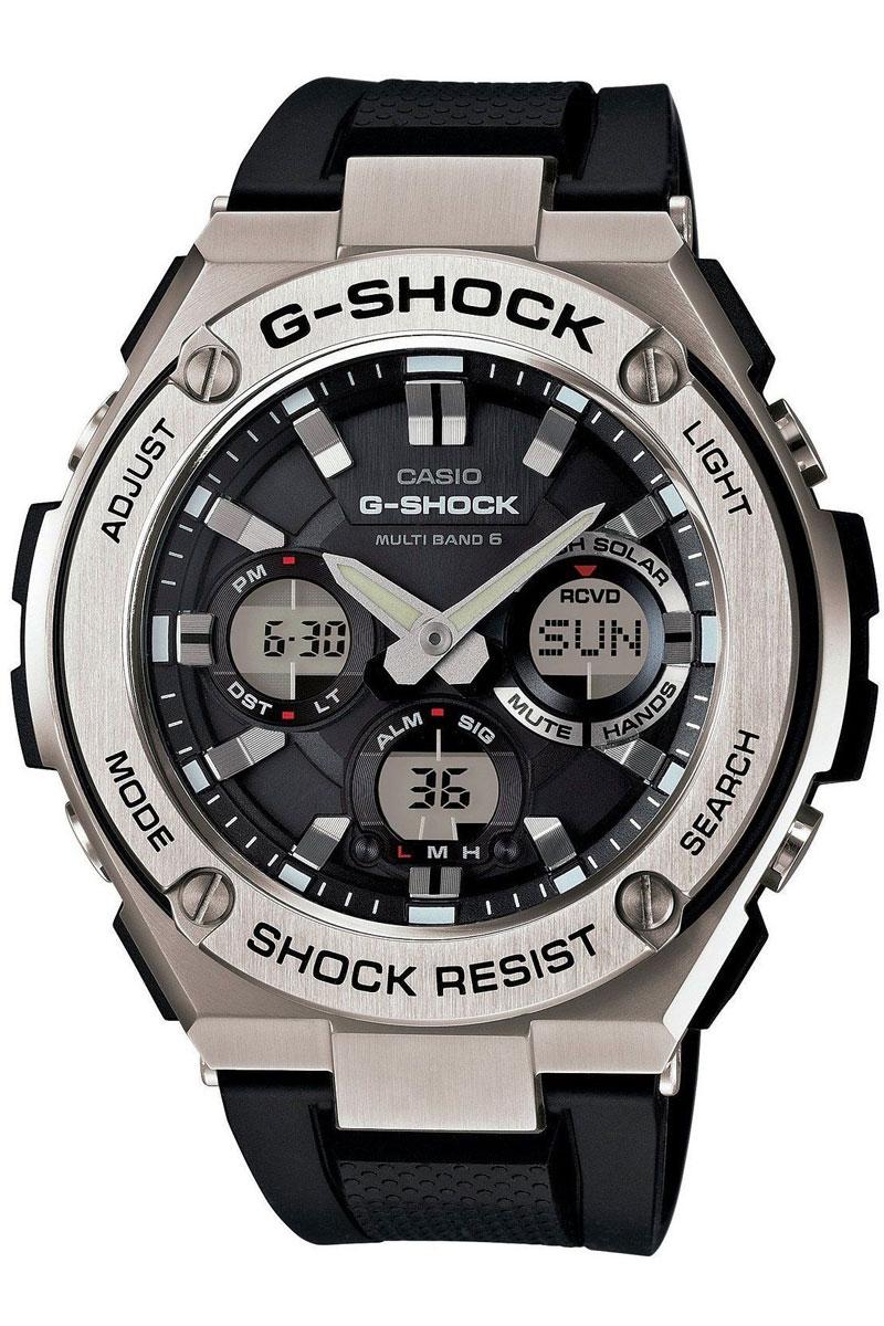 Часы мужские наручные Casio G-Shock, цвет: черный, стальной. GST-WGST-W110-1AМногофункциональные часы Casio G-Shock. выполнены из полимерного материала, нержавеющей стали и минерального стекла. Корпус часов дополнен символикой бренда. Корпус изделия изготовлен из полимерного материала с элементами из нержавеющей стали и имеет степень влагозащиты равную 20 atm. Часы оснащены долговечным механизмом и дополнительной функцией светодиодной подсветки циферблата. Дополнительные функции часов: солнечная батарея, которая при недостаточном освещении обеспечит автоматическое включение подсветки дисплея, ударопрочность, устойчивость к низким температурам, прием радиосигнала, неоновый дисплей, мировое время, секундомер, таймер, будильник, функция повтора будильника, функция перемещения стрелок, автоматический календарь, второй часовой пояс. Браслет изделия выполнен из долговечного полимерного материала и дополнен практичной застежкой-пряжкой, которая позволит моментально снимать и одевать часы без лишних усилий. Изделие поставляется в фирменной упаковке. ...