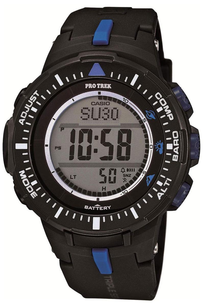 Часы мужские наручные Casio Pro Trek, цвет: черный, синий. PRG-300-1A2ERPRG-300-1A2ERМногофункциональные часы Casio Pro Trek выполнены из полимерного материала, нержавеющей стали и минерального стекла. Корпус часов дополнен символикой бренда, браслет оформлен принтом камуфляж. Корпус изделия изготовлен из полимерного материала с элементами из нержавеющей стали и имеет степень влагозащиты равную 10 atm. Часы оснащены долговечным механизмом. Дополнительные функции часов: -Полностью автоматическая светодиодная подсветка: поворот руки при недостаточном освещении обеспечит автоматическое включение подсветки дисплея. -Солнечная батарея: солнечная подзаряжающаяся батарейка обеспечивает питание часов для работы. -Устойчивость к низким температурам (-10 °C): даже температура ниже -10°C не оказывает никакого влияния на эти часы. -Цифровой компас: встроенный цифровой компас определяет северный магнитный полюс. -Барометр (260/1.100 hPa): специальный датчик измеряет давление воздуха (диапазон измерений составляет 260/1100 гПа,...
