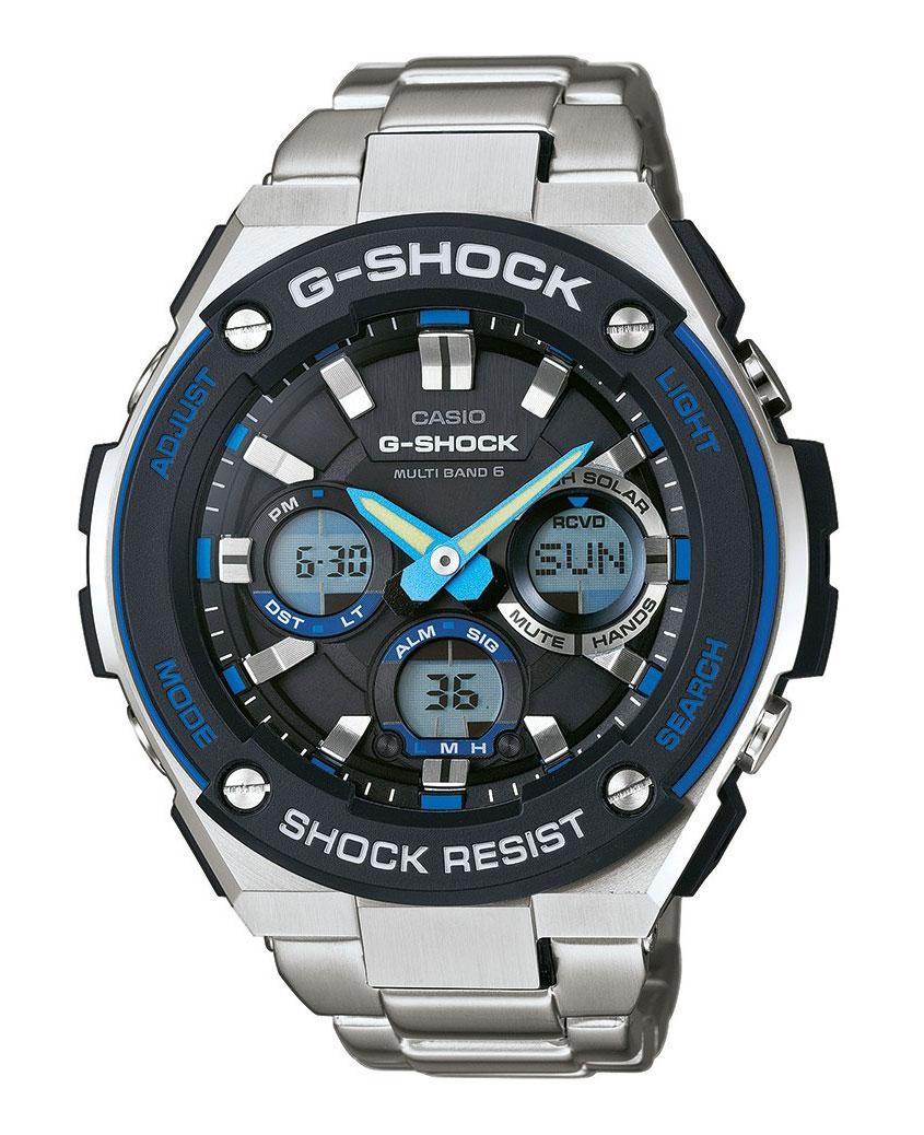 Часы наручные Casio, цвет: серебристый, черный. GST-W100D-1A2GST-W100D-1A2Наручные часы Casio произведены опытными специалистами из материалов самого высокого качества на базе новейших технологий. Часы прошли тщательную проверку и контроль качества. Часы оснащены кварцевым механизмом. Корпус выполнен из высококачественной нержавеющей стали. Дисплей часов защищен минеральным стеклом, устойчивым к появлению царапин и подсвечивается двумя светодиодами, при недостаточном освещении во время поворота запястья в сторону лица подсветка включается автоматически. Ремешок часов выполнен из полимерного материала и оснащен застежкой-пряжкой. Часы имеют дополнительные функции: мировое время, индикатор даты, секундомер, таймер, будильник. Питание от солнечной энергии Tough Solar - солнечные батарейки большой мощности, индикатор заряда батареи. Функция автоматического сохранения энергии. Время работы аккумулятора без подзарядки приблизительно 7 месяцев, при включенной функции сохранения энергии приблизительно 18 месяцев. Ударопрочная конструкция защищает...
