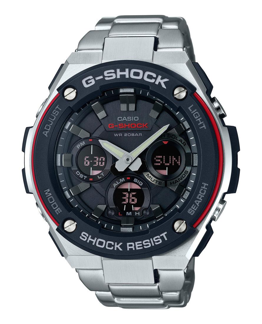 Часы мужские наручные Casio G-Shock, цвет: черный, красный, стальной. GST-WGST-W100D-1A4Многофункциональные часы Casio G-Shock. выполнены из полимерного материала, нержавеющей стали и минерального стекла. Корпус часов дополнен символикой бренда. Корпус изделия изготовлен из полимерного материала с элементами из нержавеющей стали и имеет степень влагозащиты равную 20 atm. Часы оснащены долговечным механизмом и дополнительной функцией светодиодной подсветки циферблата. Дополнительные функции часов: солнечная батарея, которая при недостаточном освещении обеспечит автоматическое включение подсветки дисплея,ударопрочность, устойчивость к низким температурам, прием радиосигнала, неоновый дисплей, мировое время, секундомер, таймер, будильник, функция повтора будильника, функция перемещения стрелок, автоматический календарь, второй часовой пояс. Браслет изделия выполнен из нержавеющей стали и дополнен практичным складным замком, который позволит моментально снимать и одевать часы без лишних усилий. Изделие поставляется в фирменной упаковке. Часы Casio G-Shock...