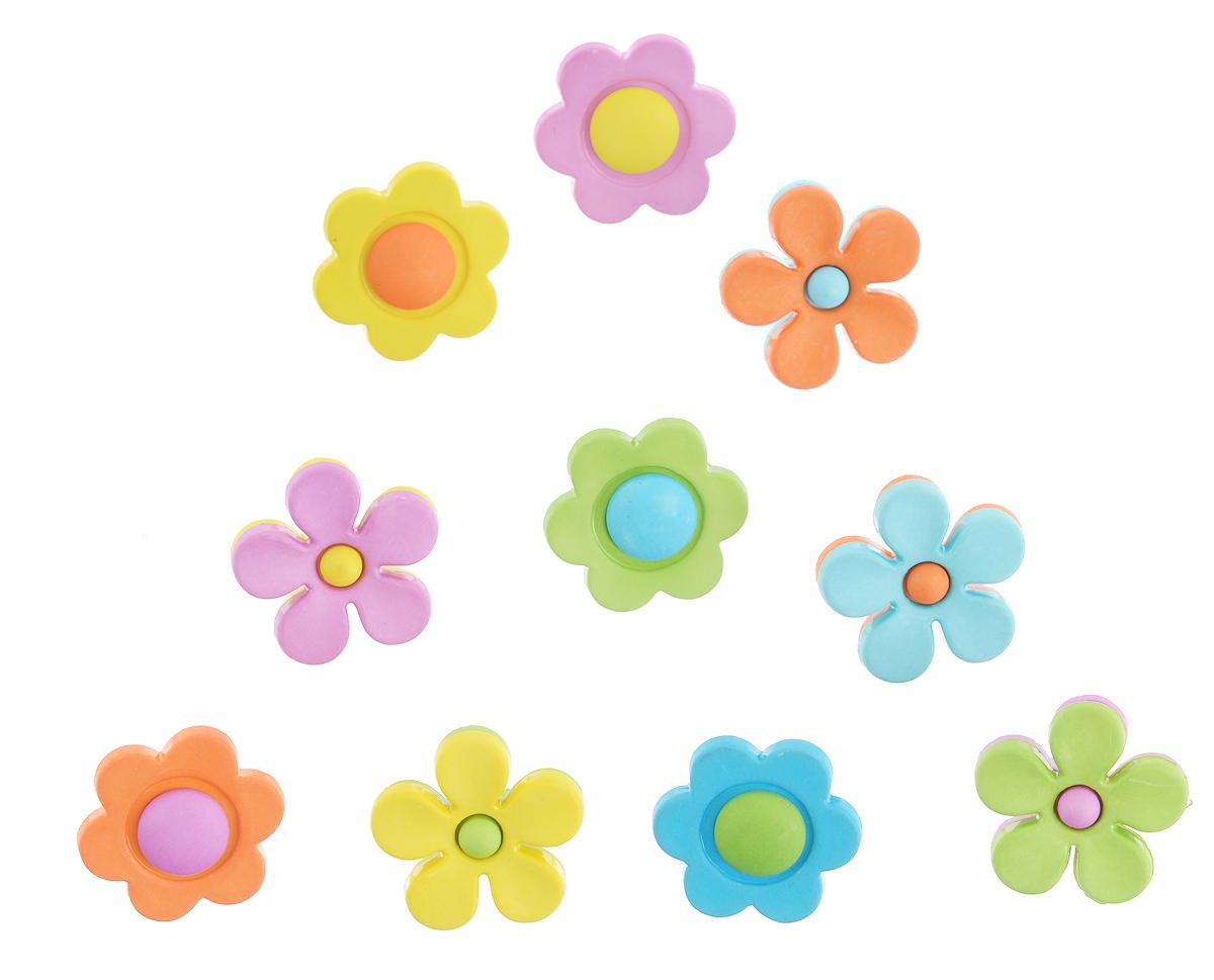 Пуговицы декоративные Buttons Galore & More Backyard Blooms, 10 шт7708792Набор Buttons Galore & More Backyard Blooms состоит из 10 декоративных пуговиц. Все элементы выполнены из пластика в виде цветов. Такие пуговицы подходят для любых видов творчества: скрапбукинга, декорирования, шитья, изготовления кукол, а также для оформления одежды. С их помощью вы сможете украсить открытку, фотографию, альбом, подарок и другие предметы ручной работы. Пуговицы разных цветов имеют оригинальный и яркий дизайн. Средний диаметр пуговиц: 2 см.