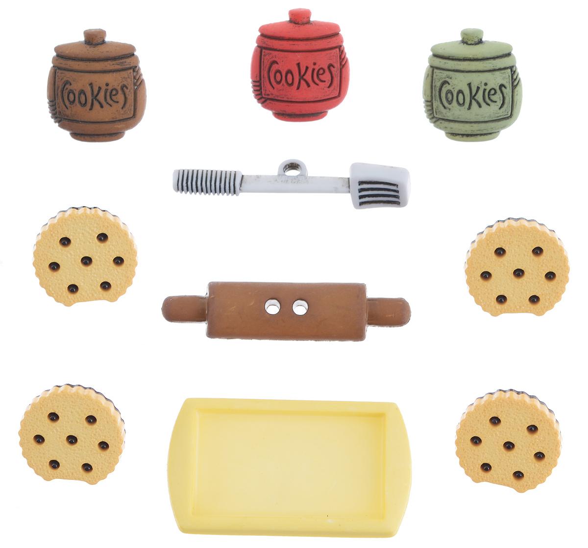 Набор пуговиц и фигурок Buttons Galore & More Cookie Jar, 10 шт7705862Набор Buttons Galore & More Cookie Jar состоит из 8 декоративных пуговиц на ножке, 1 декоративной пуговицы с отверстиями и 1 декоративного элемента, который можно приклеить. Все элементы выполнены из пластика в форме разнообразных фигур. Такой набор подходит для любых видов творчества: скрапбукинга, декорирования, шитья, изготовления кукол, а также для оформления одежды. С их помощью вы сможете украсить открытку, фотографию, альбом, подарок и другие предметы ручной работы. Все элементы выполнены в разных цветах и формах, имеют оригинальный и яркий дизайн. Средний размер элементов: 1,8 см х 1,5 см х 0,4 см.
