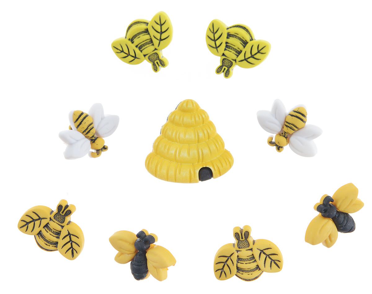Пуговицы декоративные Buttons Galore & More Buzzin Around, 9 шт7705941Набор Buttons Galore & More Buzzin Around состоит из 9 декоративных пуговиц на ножке. Все элементы выполнены из пластика в виде пчел и улья. Такие пуговицы подходят для любых видов творчества: скрапбукинга, декорирования, шитья, изготовления кукол, а также для оформления одежды. С их помощью вы сможете украсить открытку, фотографию, альбом, подарок и другие предметы ручной работы. Пуговицы разных цветов имеют оригинальный и яркий дизайн. Средний размер элемента: 1,5 см х 2 см х 1 см.