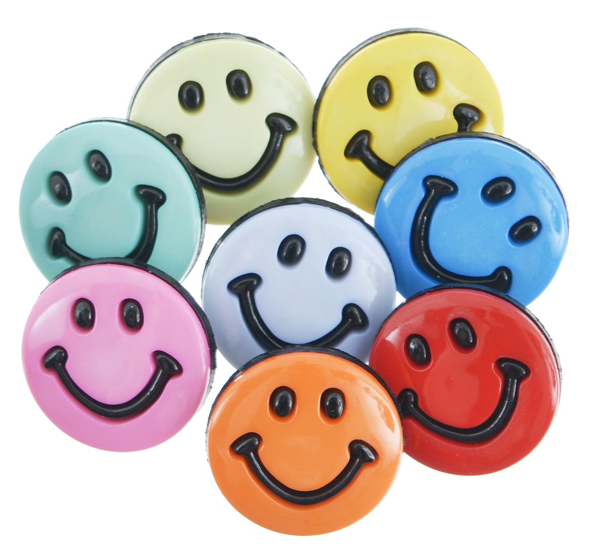 Пуговицы декоративные Buttons Galore & More Smileys, 8 шт7705902Набор Buttons Galore & More Smileys состоит из 8 декоративных пуговиц. Все элементы выполнены из пластика в виде забавных смайликов. Такие пуговицы подходят для любых видов творчества: скрапбукинга, декорирования, шитья, изготовления кукол, а также для оформления одежды. С их помощью вы сможете украсить открытку, фотографию, альбом, подарок и другие предметы ручной работы. Диаметр пуговицы: 2 см.