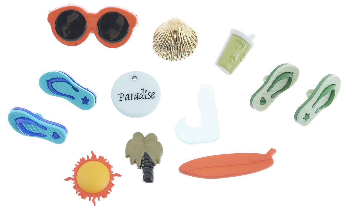Набор пуговиц и фигурок Buttons Galore & More Paradise, 12 шт7708798Набор Buttons Galore & More Paradise состоит из 7 декоративных пуговиц на ножке и 5 декоративных элементов, которые можно приклеить. Все элементы выполнены из пластика в виде солнца, пальмы, солнечных очков и шлепанцев. Такой набор подходит для любых видов творчества: скрапбукинга, декорирования, шитья, изготовления кукол, а также для оформления одежды. С их помощью вы сможете украсить открытку, фотографию, альбом, подарок и другие предметы ручной работы. Все элементы выполнены в разных цветах и формах, имеют оригинальный и яркий дизайн. Средний размер элементов: 2 см х 1,3 см х 0,2 см.