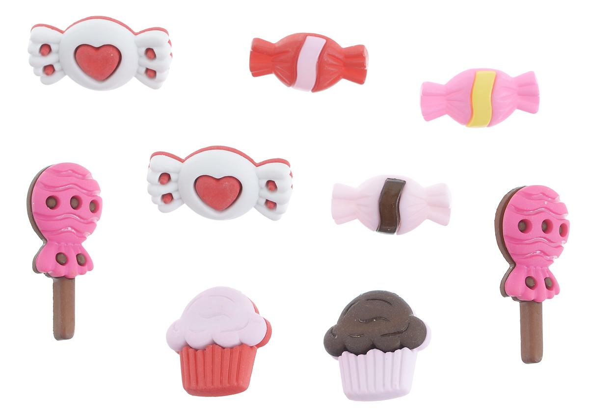 Пуговицы декоративные Buttons Galore & More Sweets for my Sweet, 9 шт7705910Набор Buttons Galore & More Sweets for my Sweet состоит из 9 декоративных пуговиц. Все элементы выполнены из пластика в виде сладостей. Такие пуговицы подходят для любых видов творчества: скрапбукинга, декорирования, шитья, изготовления кукол, а также для оформления одежды. С их помощью вы сможете украсить открытку, фотографию, альбом, подарок и другие предметы ручной работы. Средний размер пуговиц: 2,5 см х 1,5 см х 0,6 см.